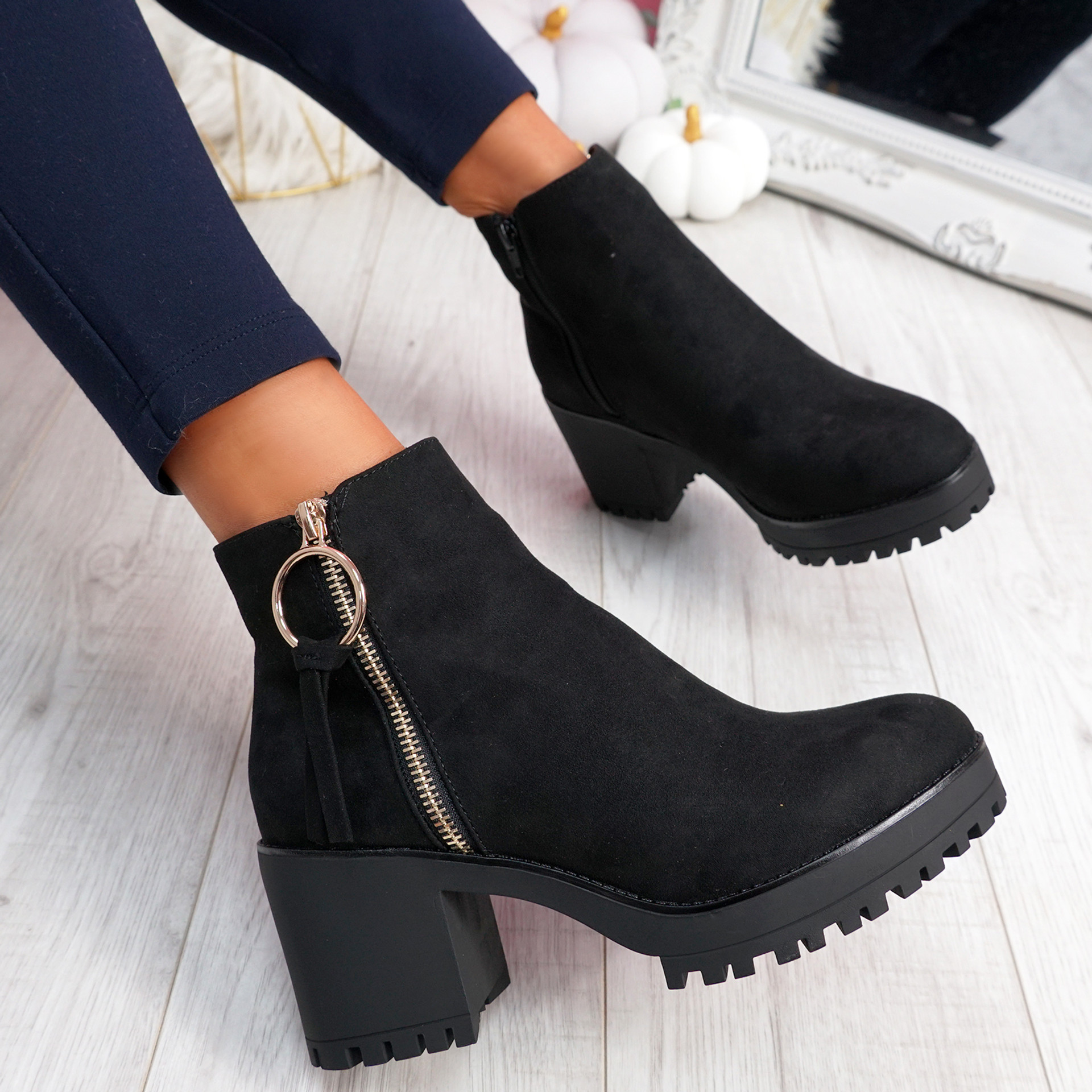 Charlize Black Chunky Ankle Boots