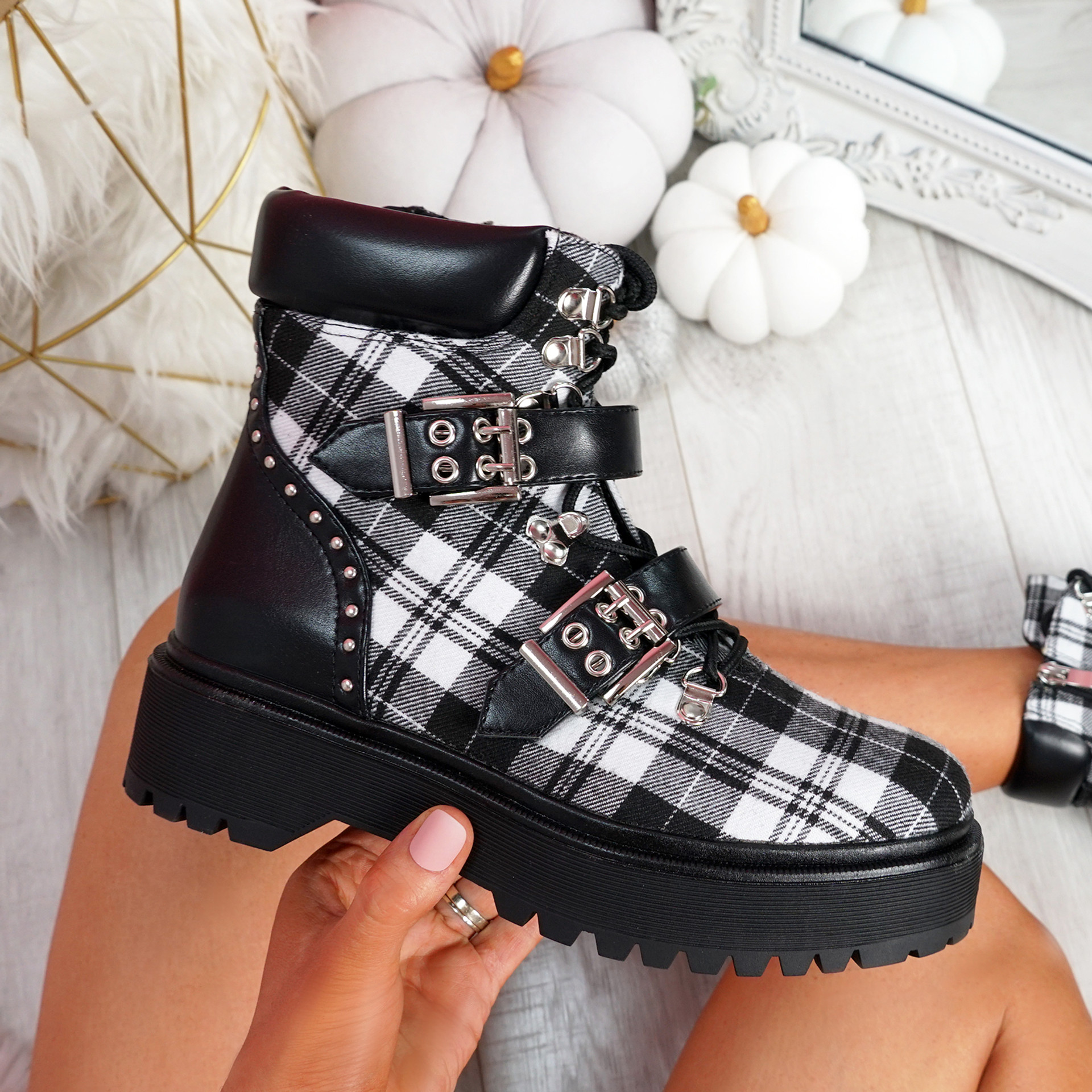 Gevvo Black White Buckle Ankle Boots