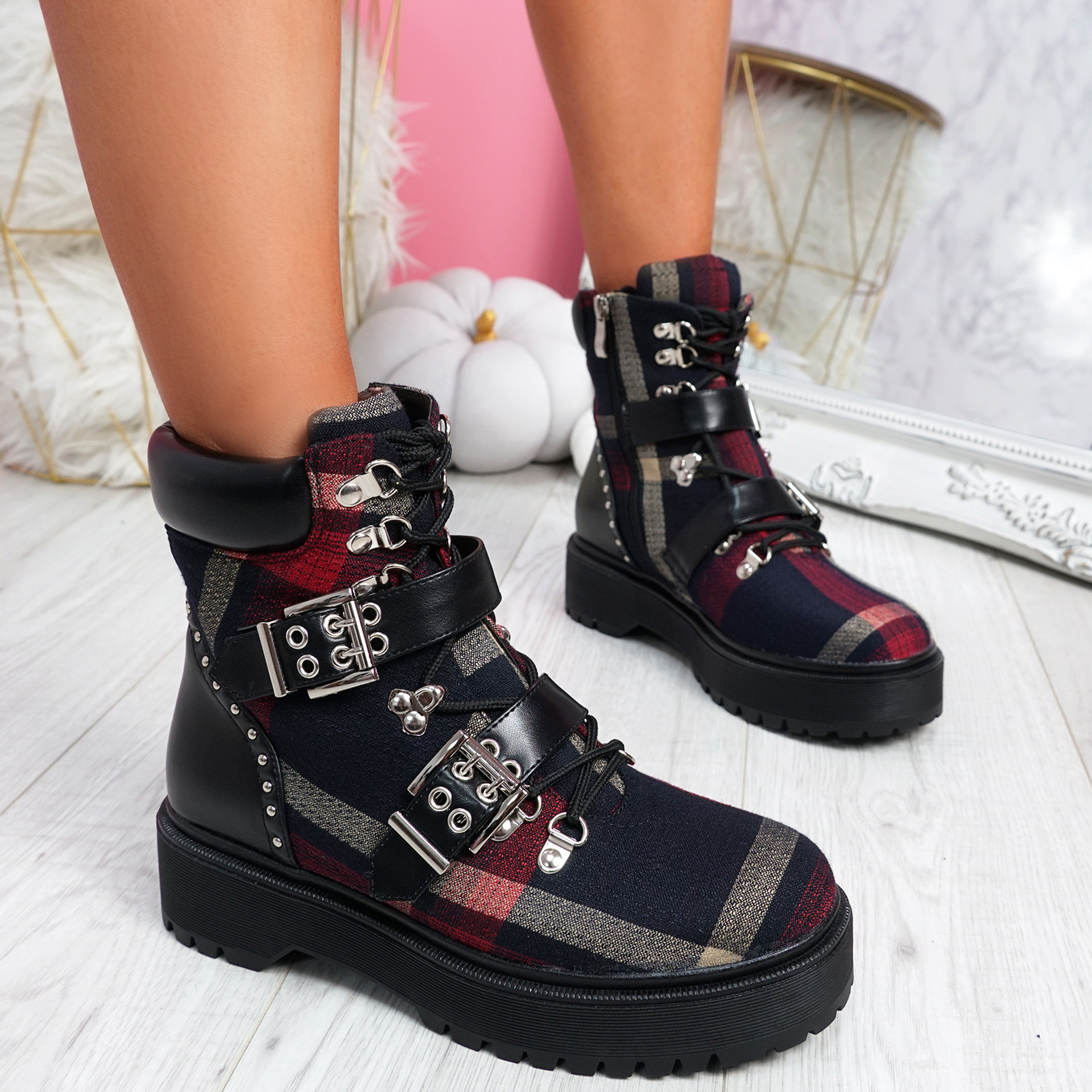 Gevvo Black Buckle Ankle Boots