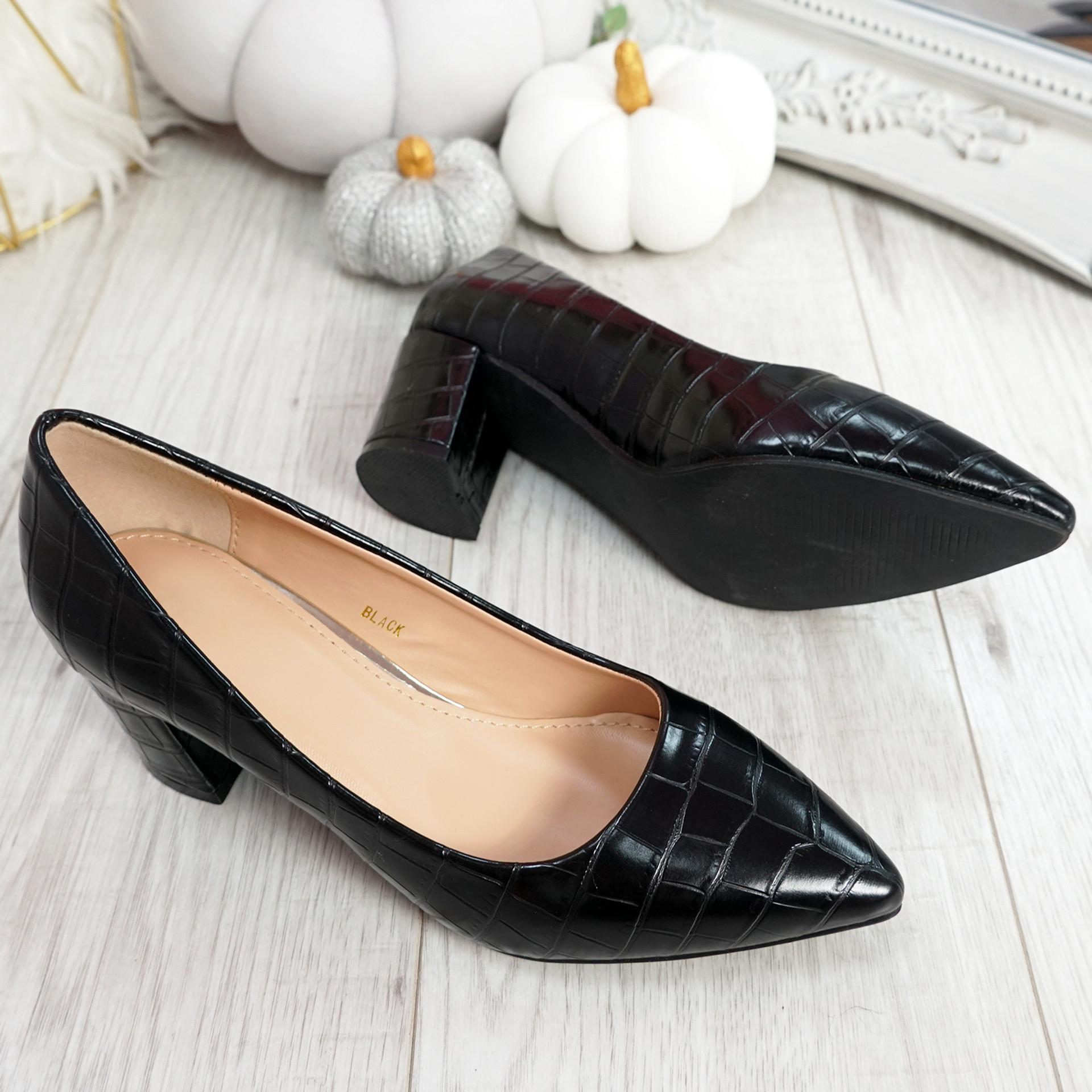 Pressy Black Croc Block Heel Pumps