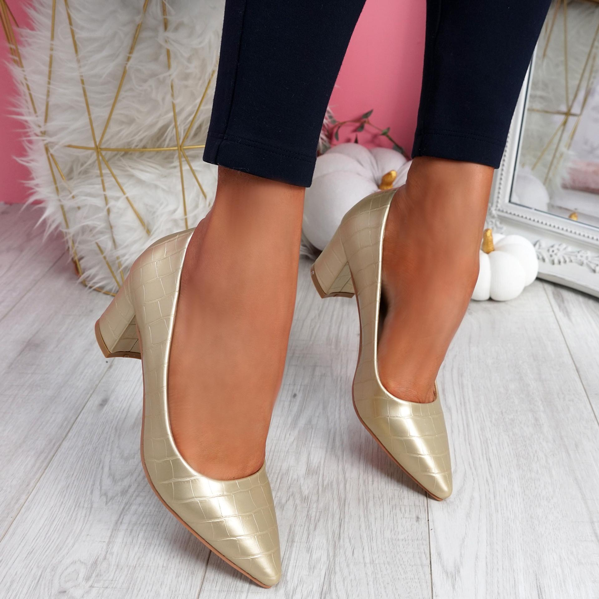 Pressy Gold Croc Block Heel Pumps