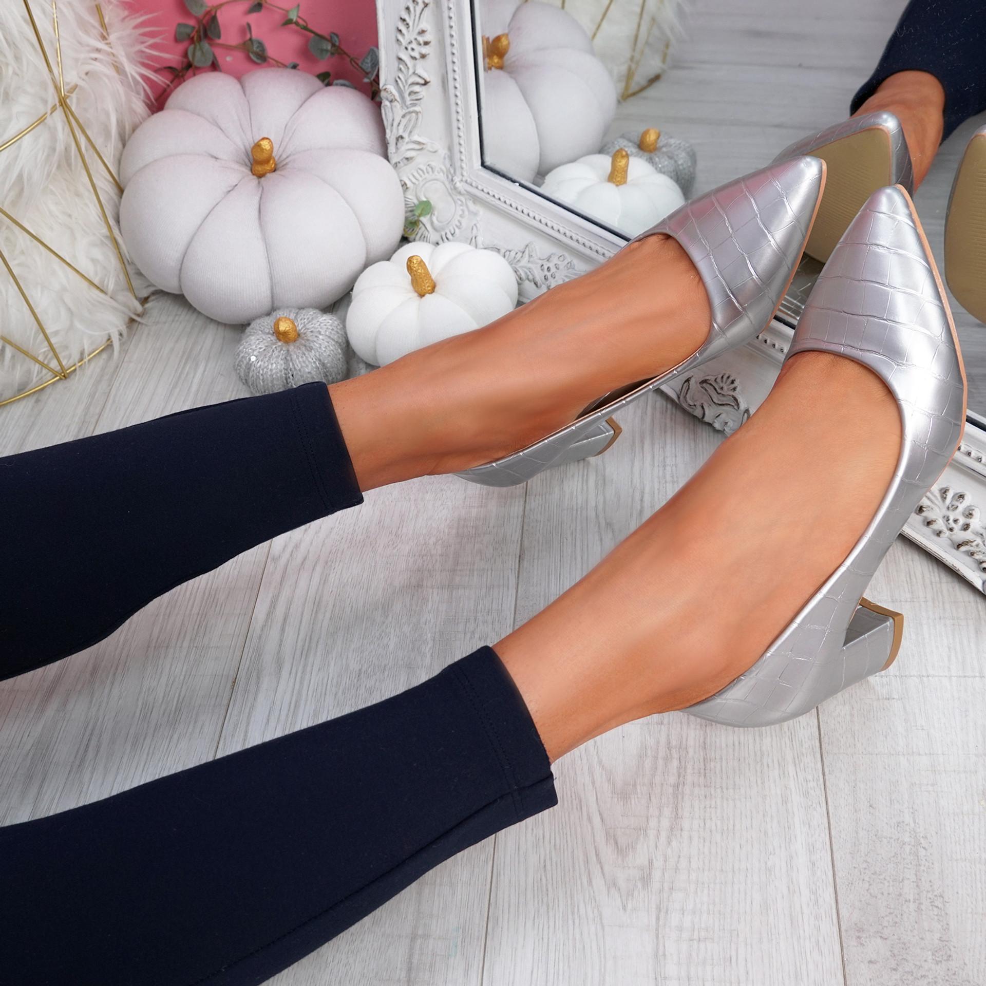Pressy Silver Croc Block Heel Pumps