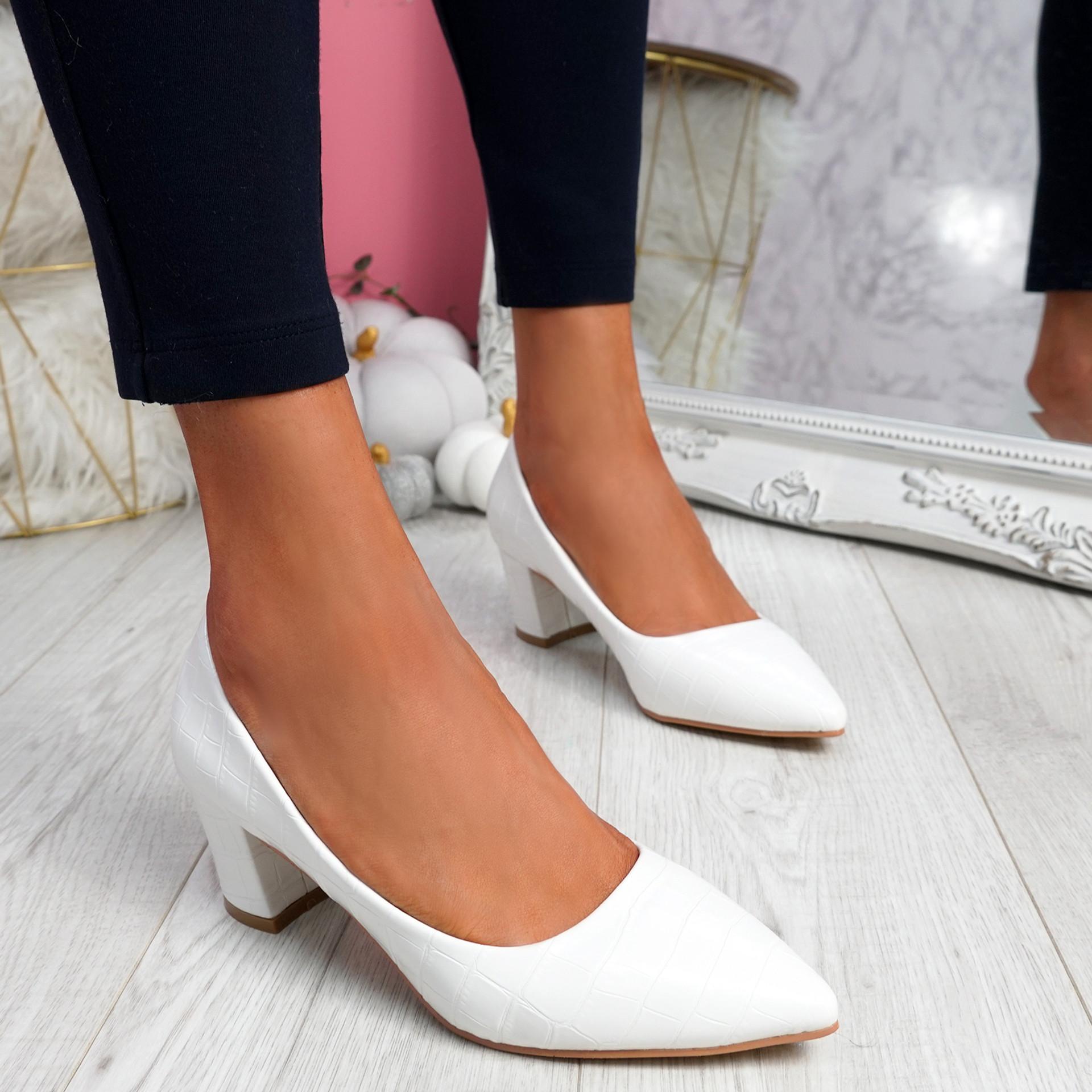 Pressy White Croc Block Heel Pumps