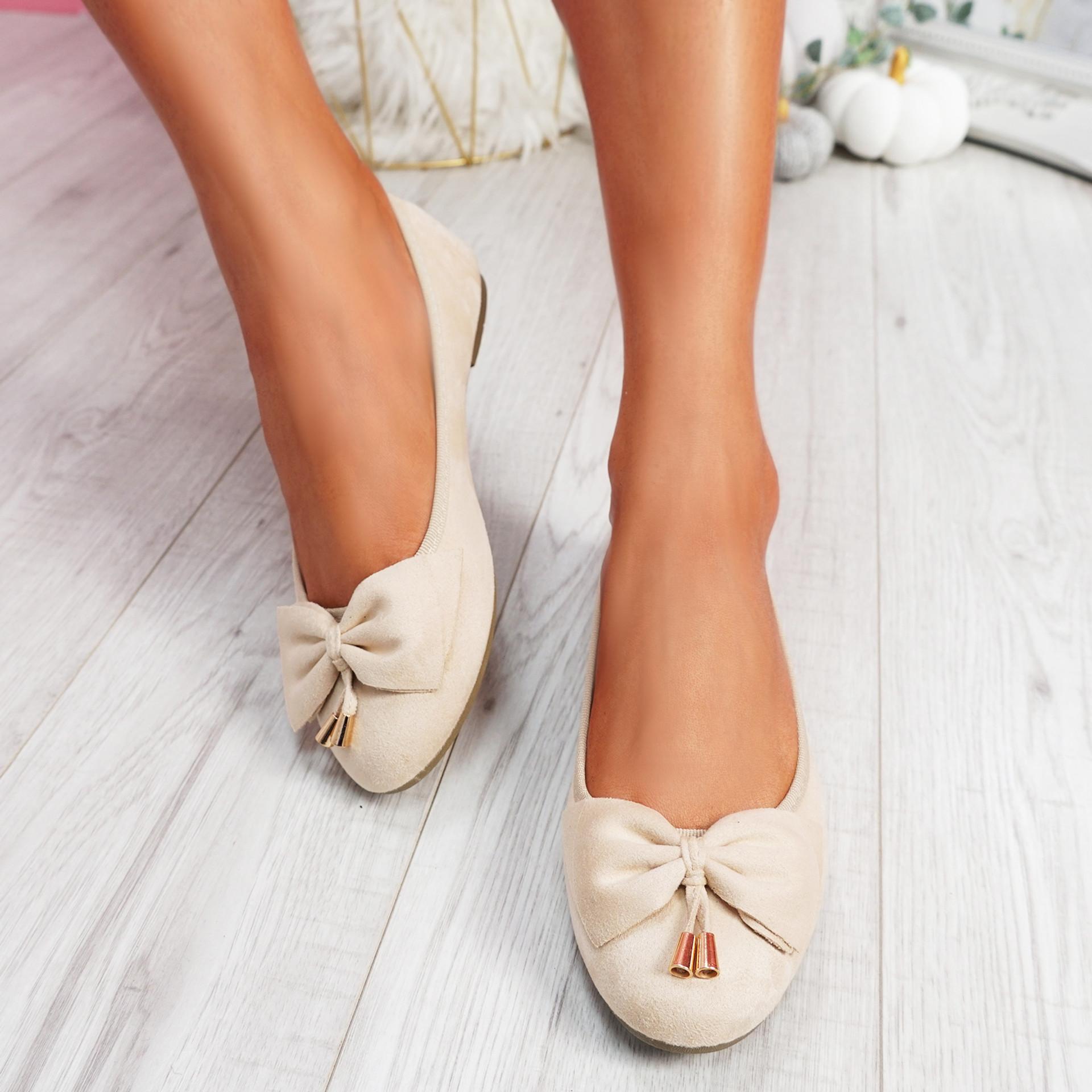Libba Beige Bow Ballerinas