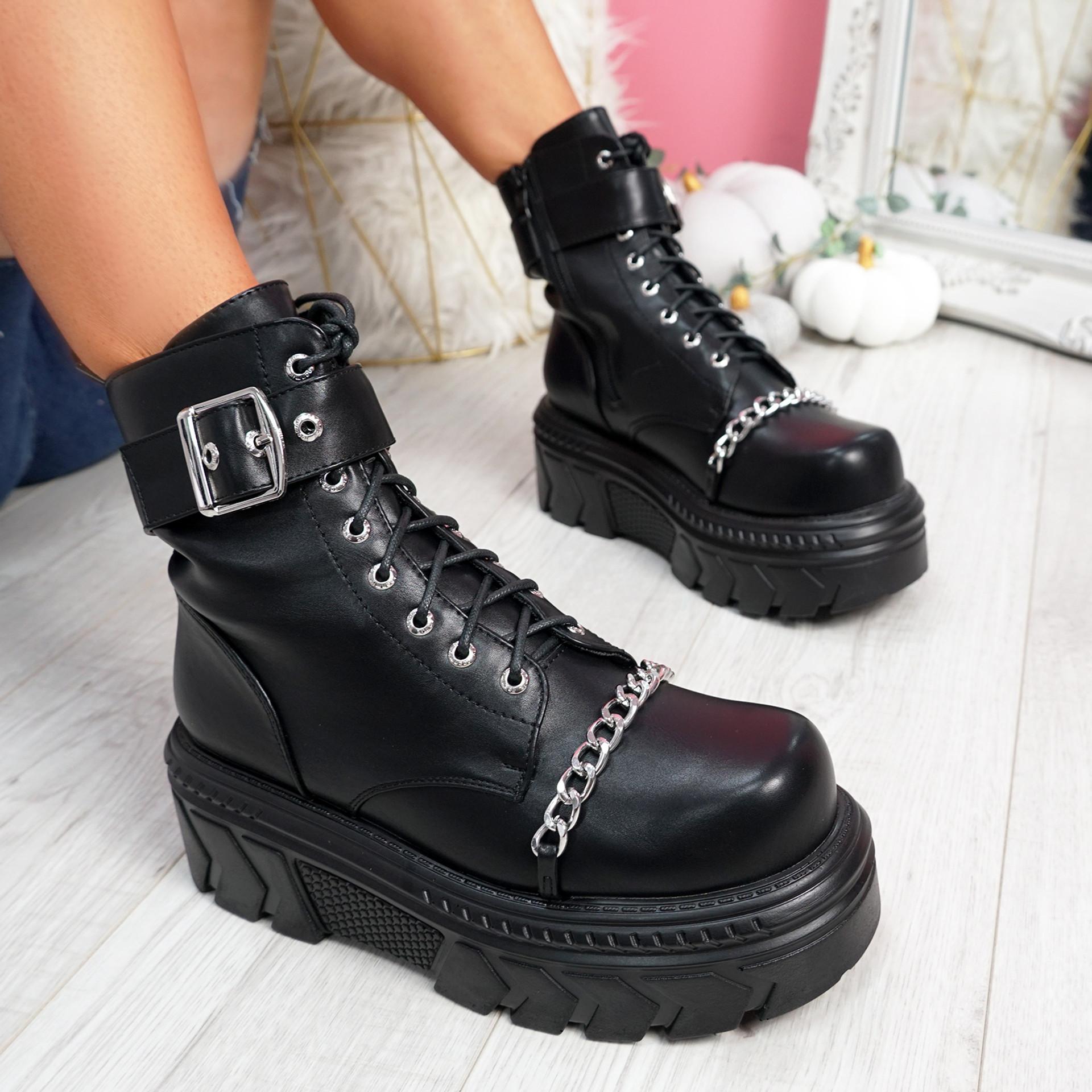 Keea Black Biker Ankle Boots