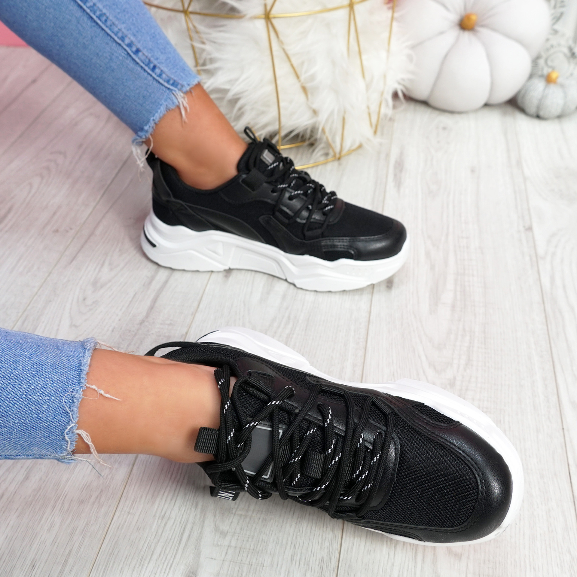 Mitry Black Chunky Trainers