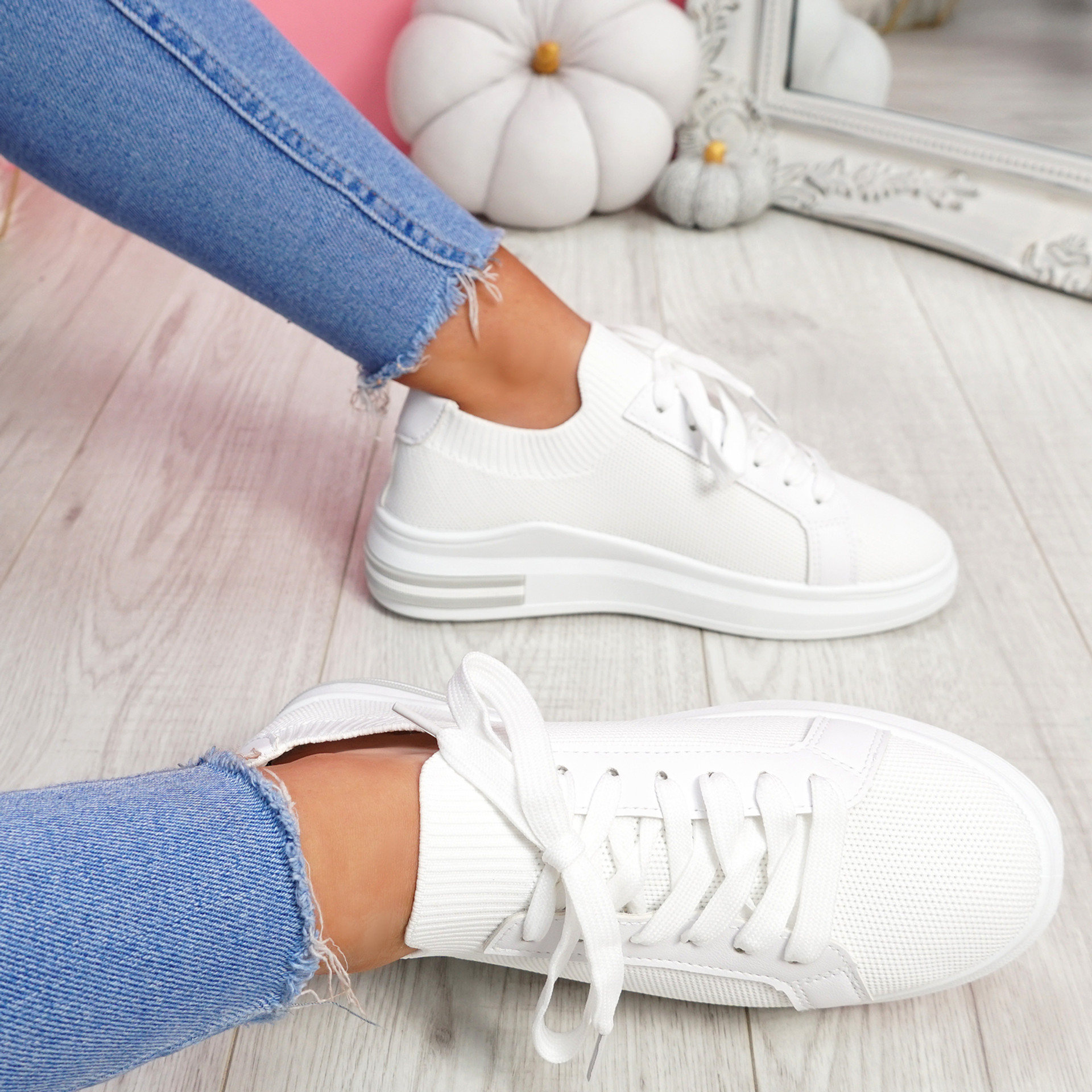 Havy White Lace Up Trainers