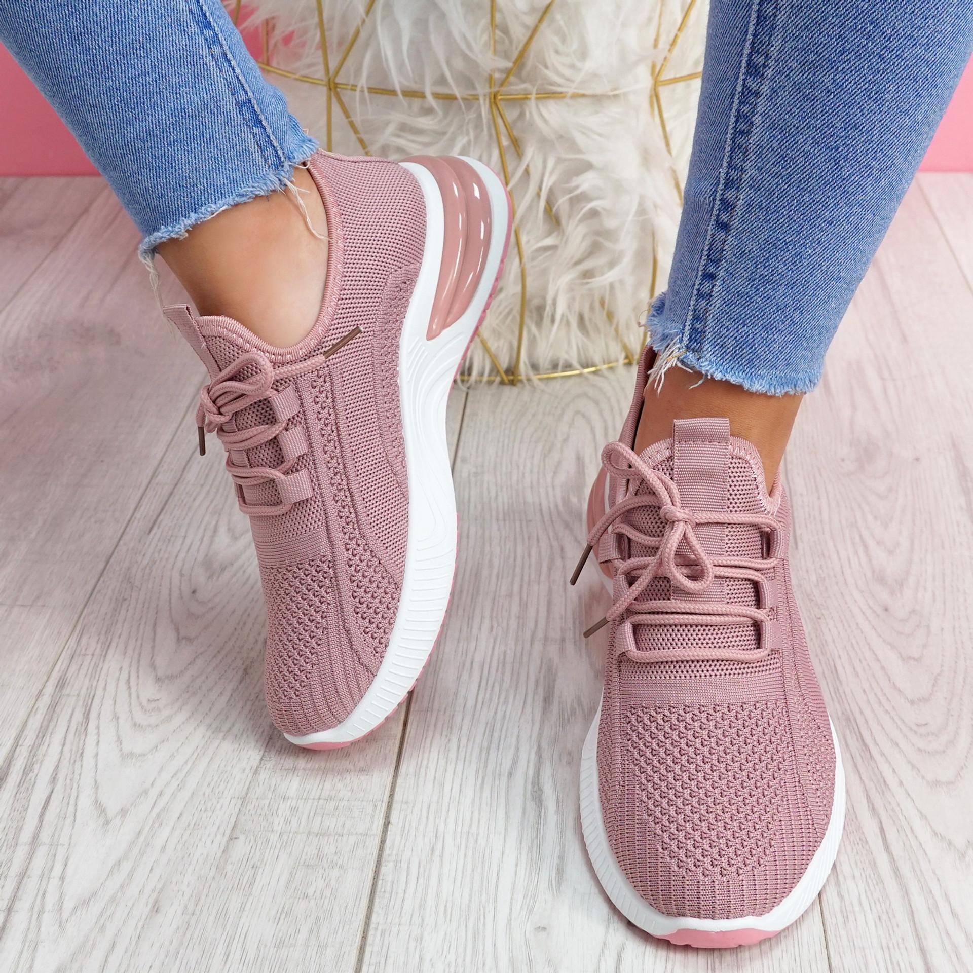 Bimma Pink Knit Trainers