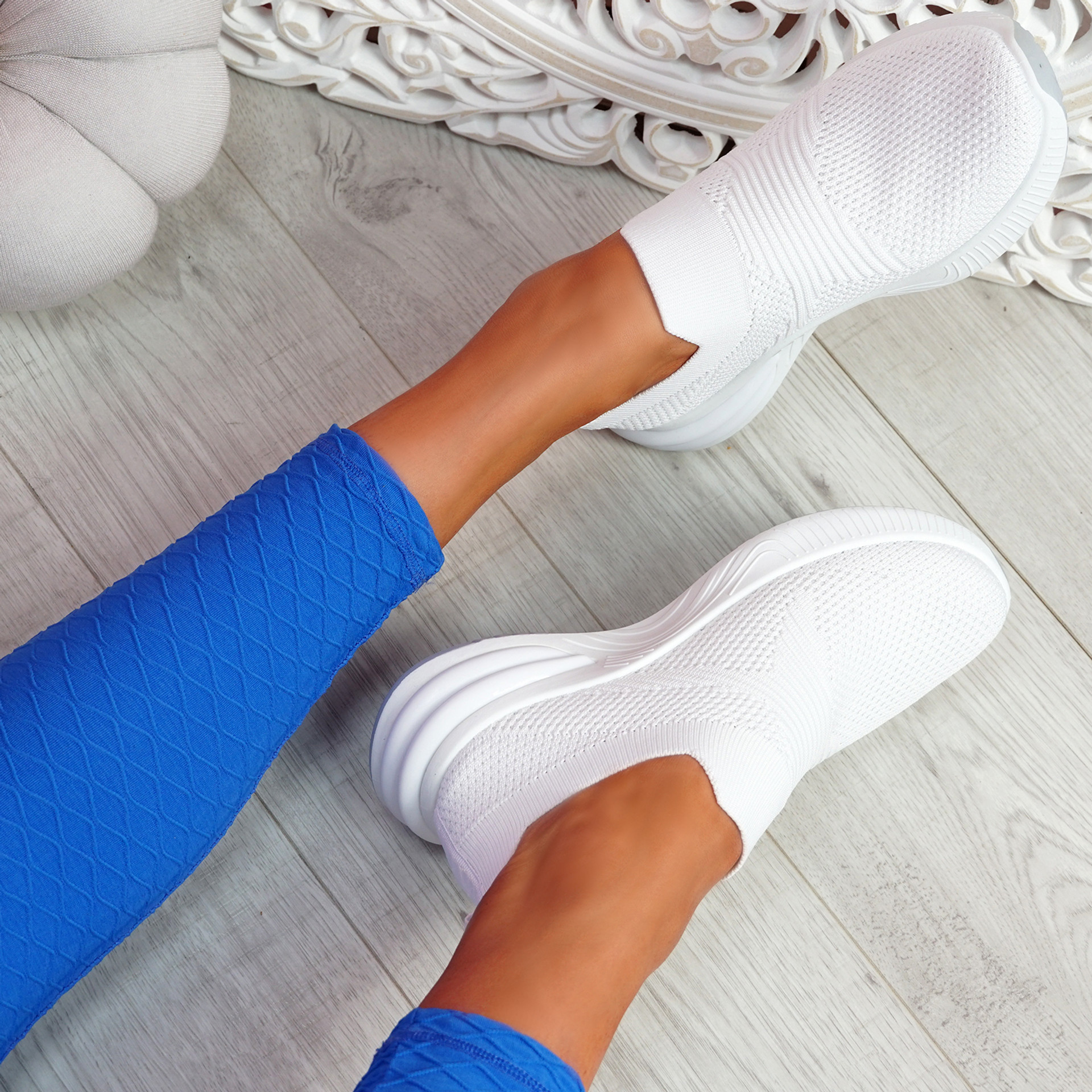 Fibba White Slip On Knit Sneakers