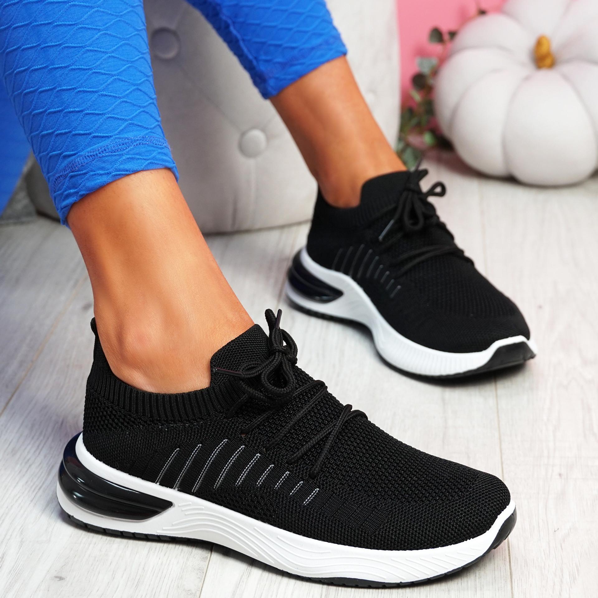 Laka Black Knit Sport Trainers