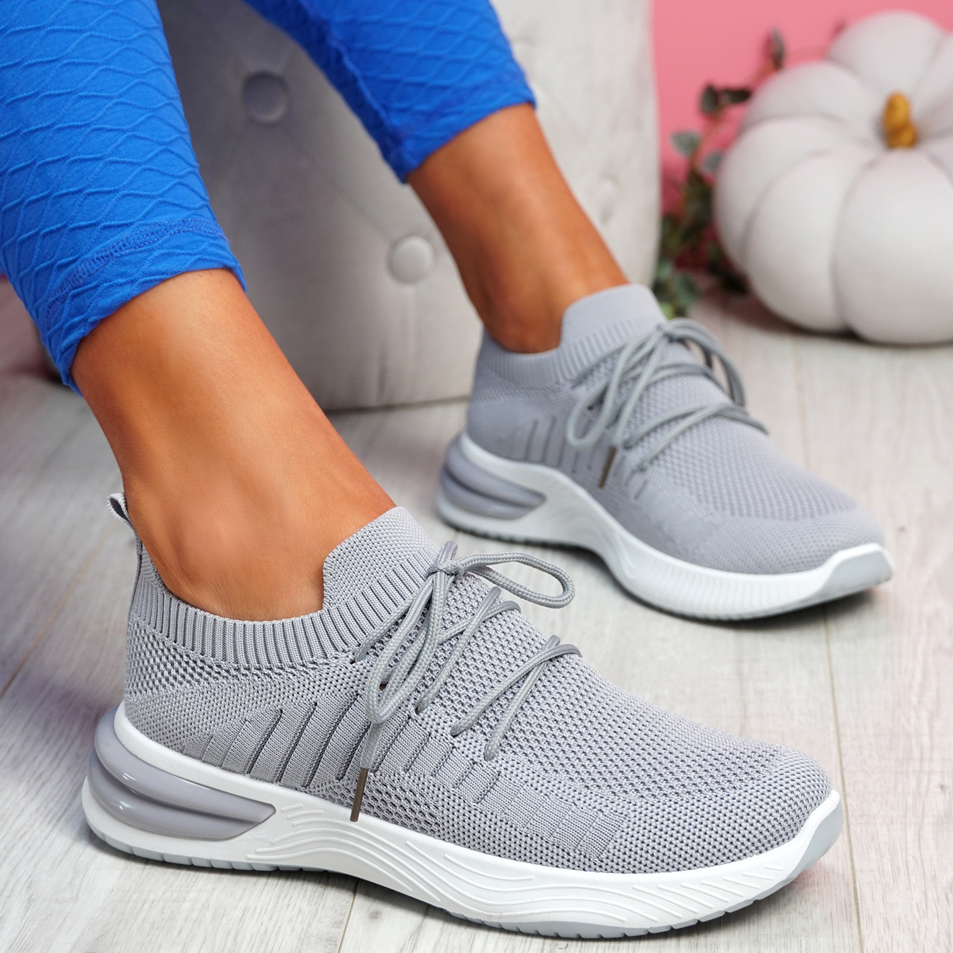 Laka Grey Knit Sport Trainers