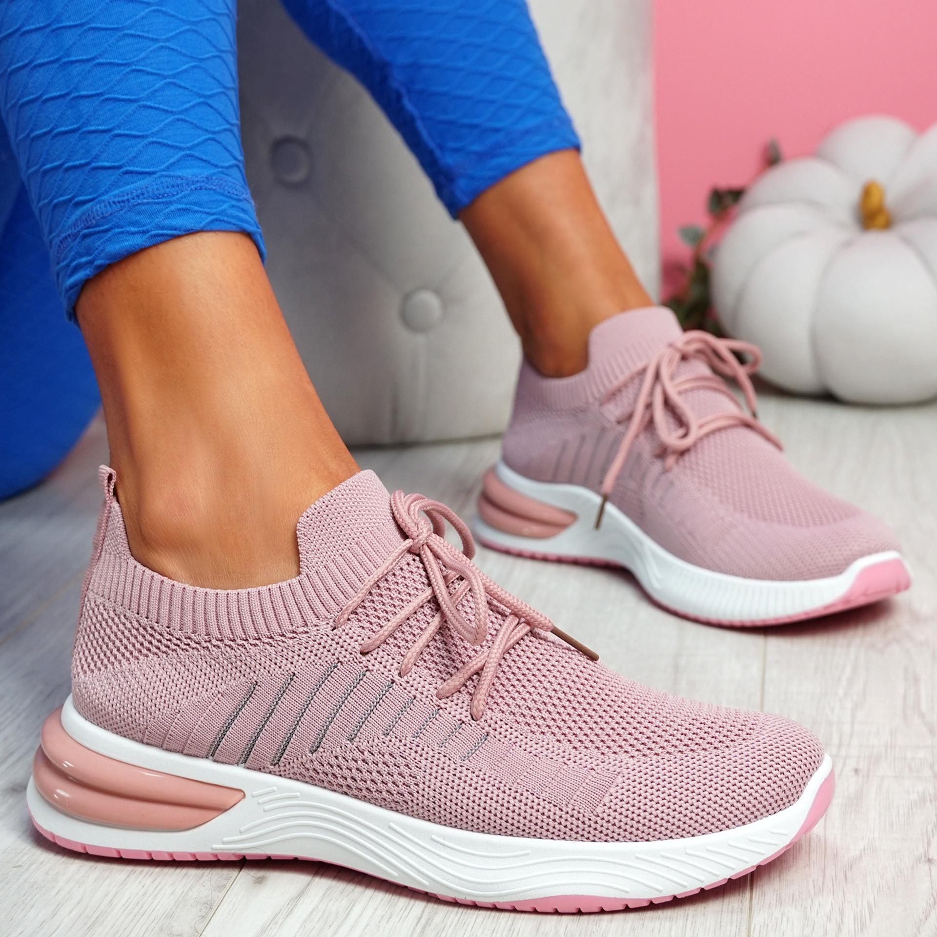 Laka Pink Knit Sport Trainers