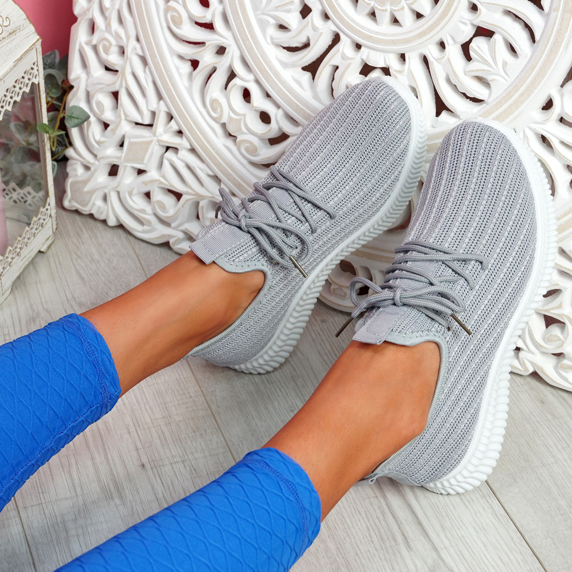 Mizzy Grey Knit Sneakers