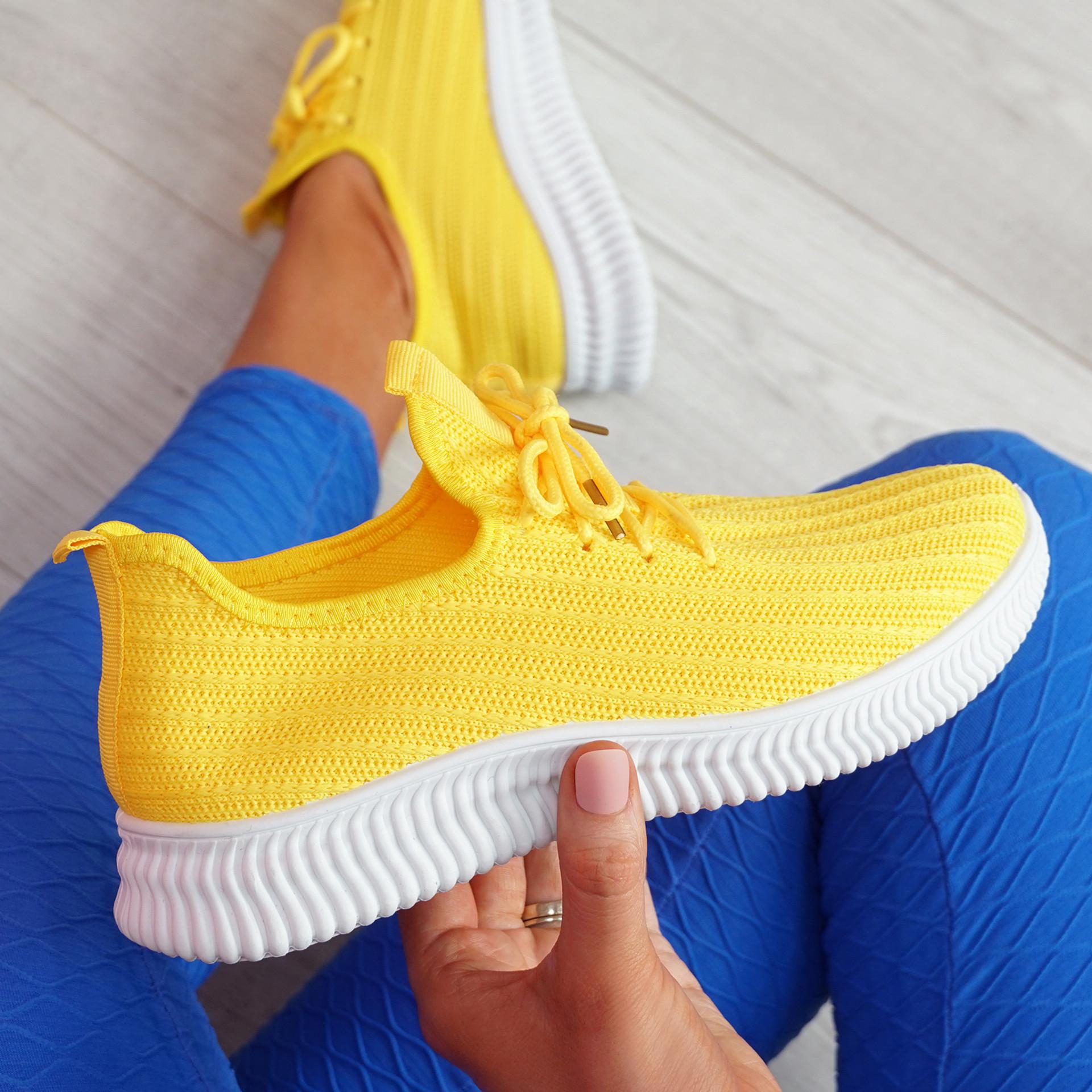 Mizzy Yellow Knit Sneakers