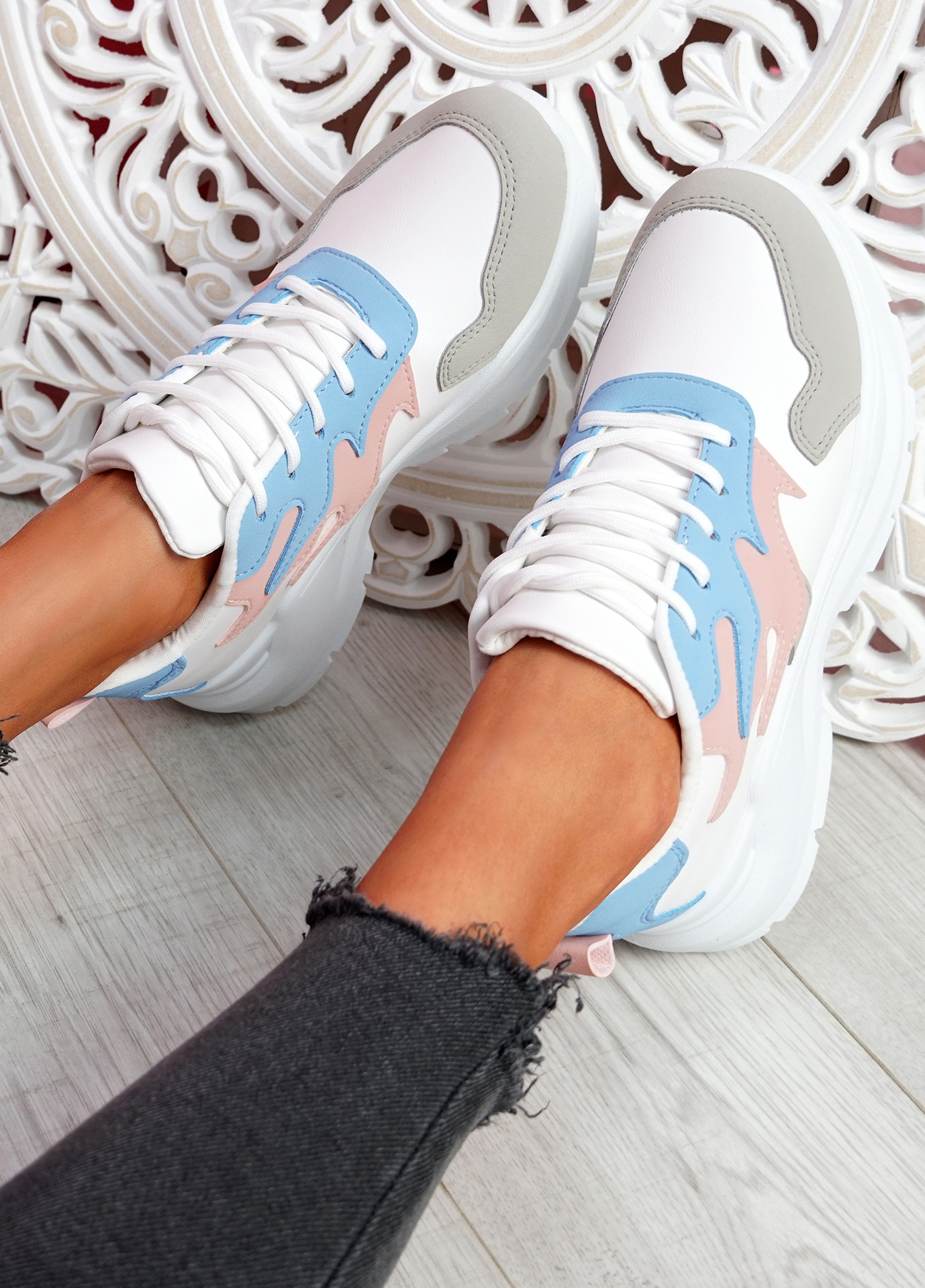Nocy Light Blue Chunky Trainers