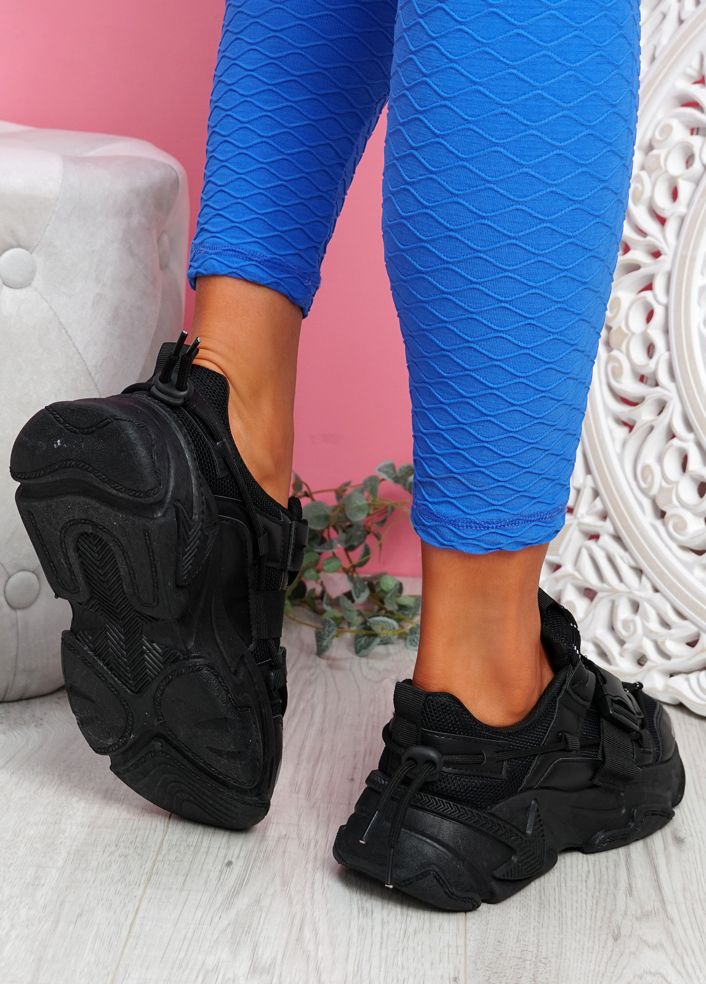 Zedy Black Chunky Trainers