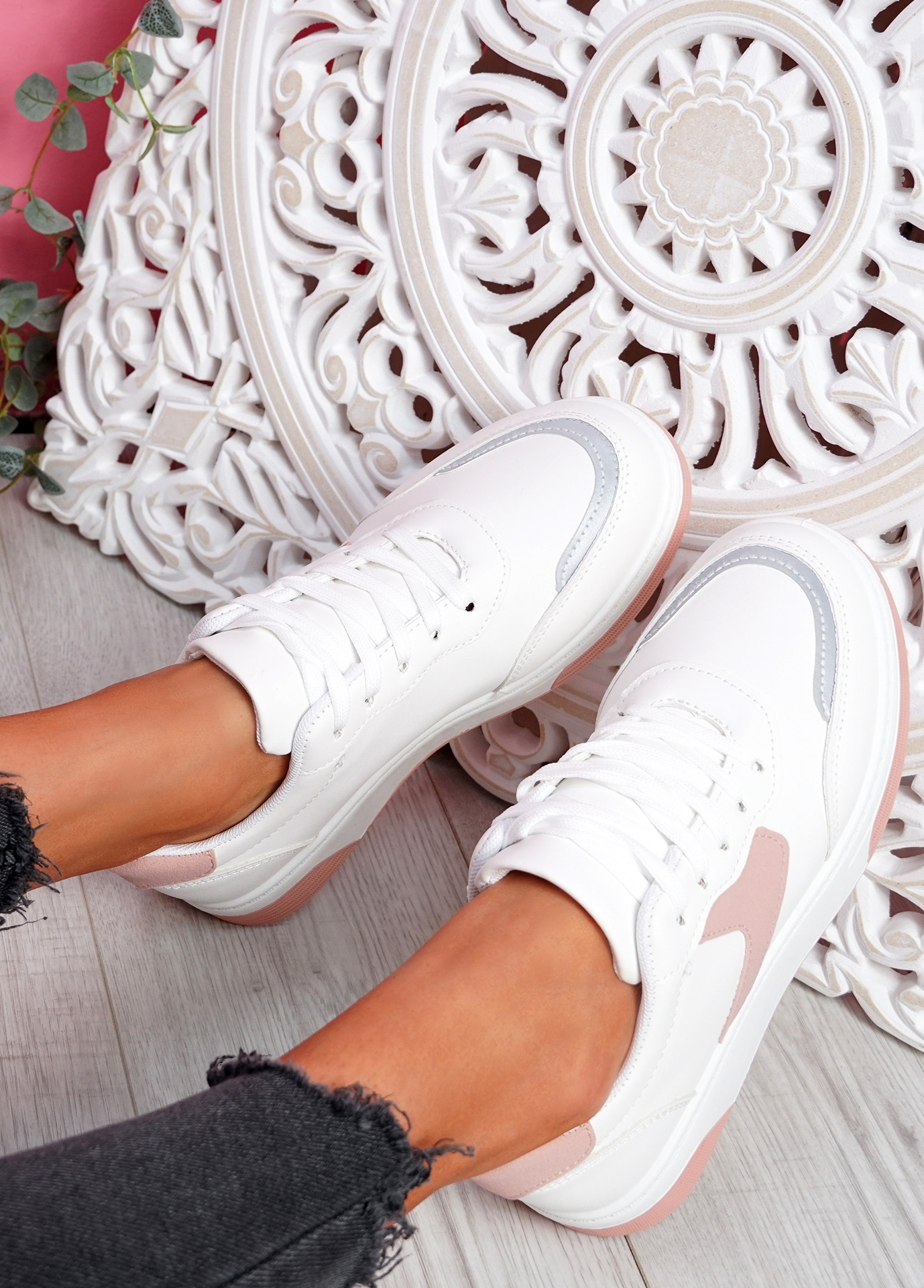 Lunny Pink Lace Up Plimsolls