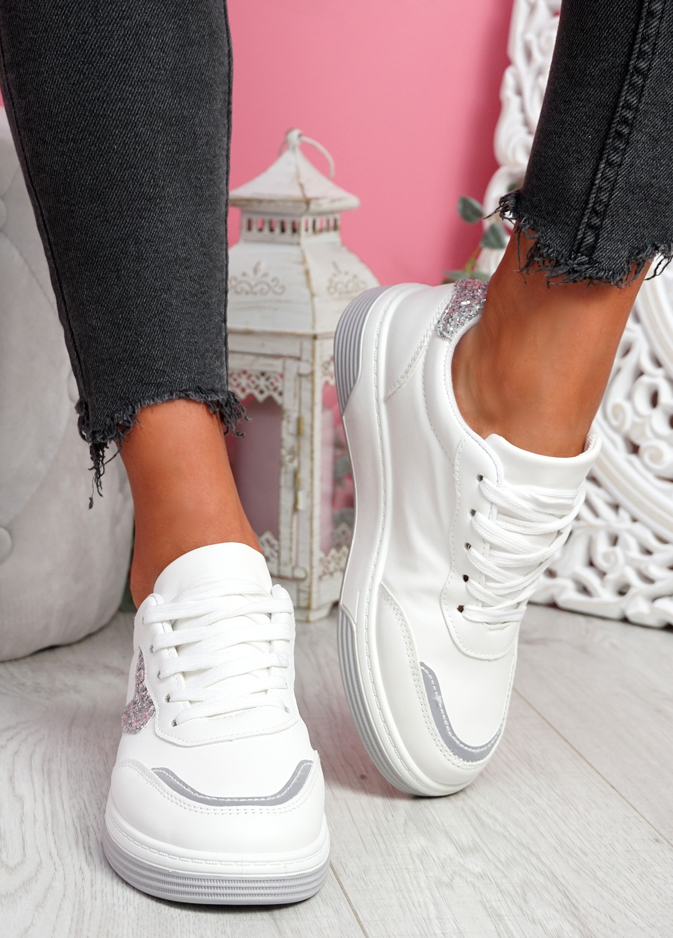 Lunny Silver Lace Up Plimsolls
