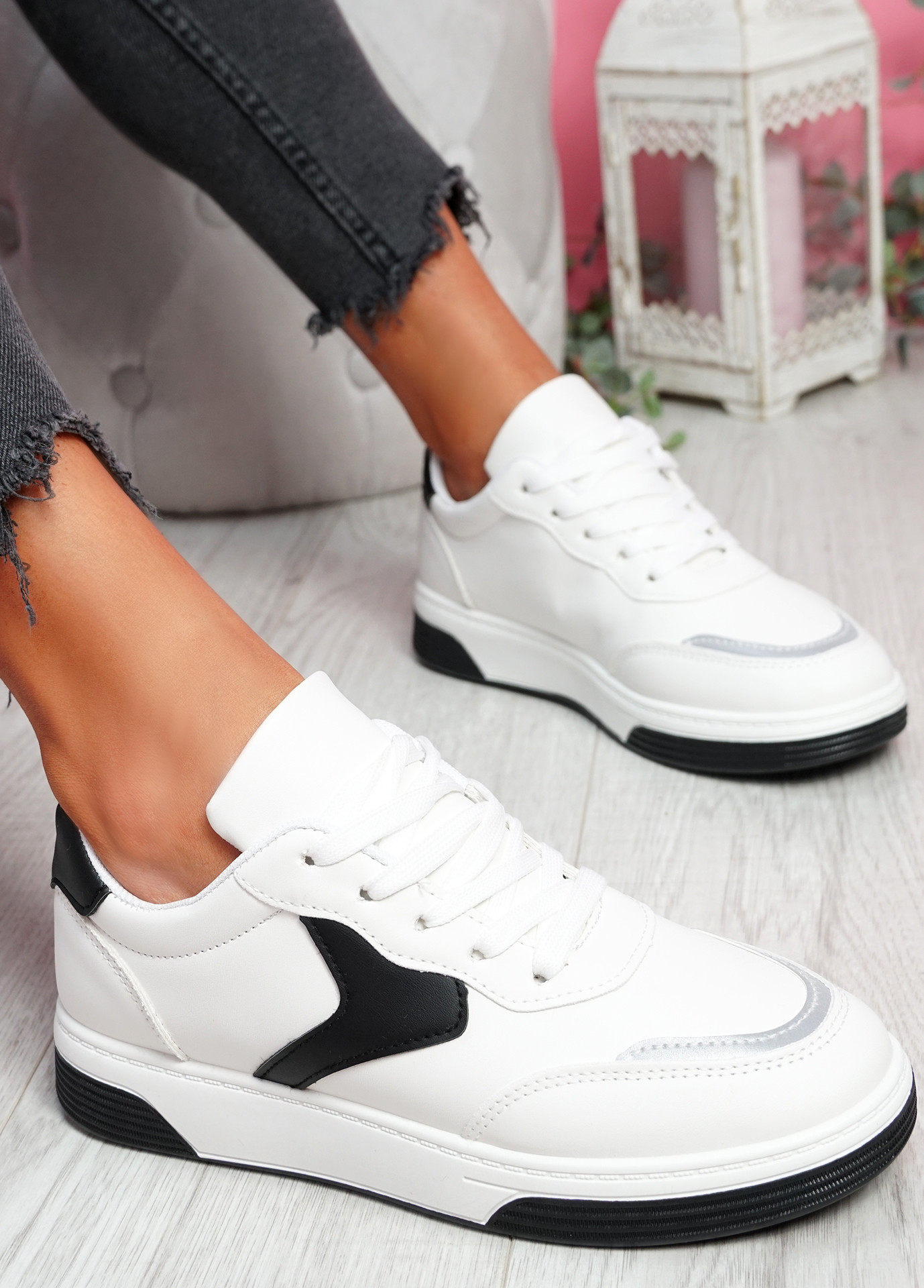 Lunny White Black Lace Up Plimsolls