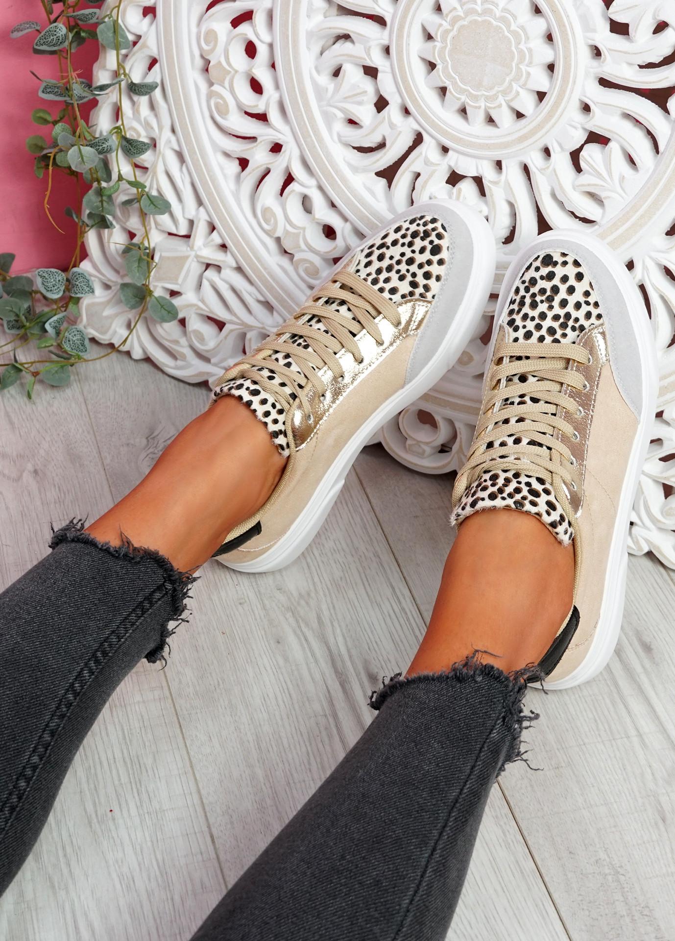 Nury Khaki Leopard Trainers