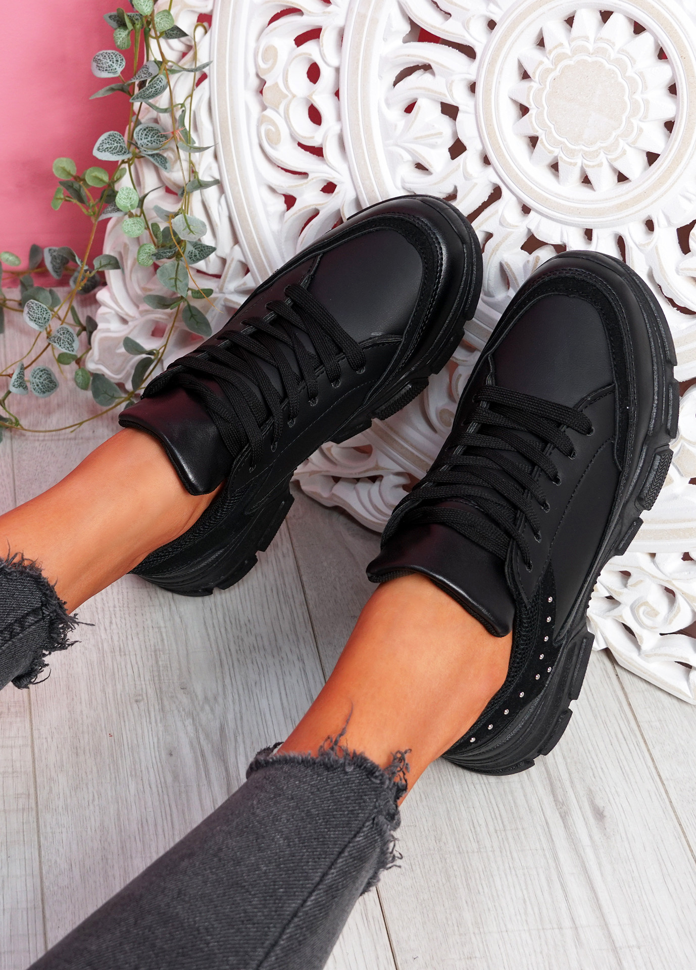 Zena Black Chunky Trainers