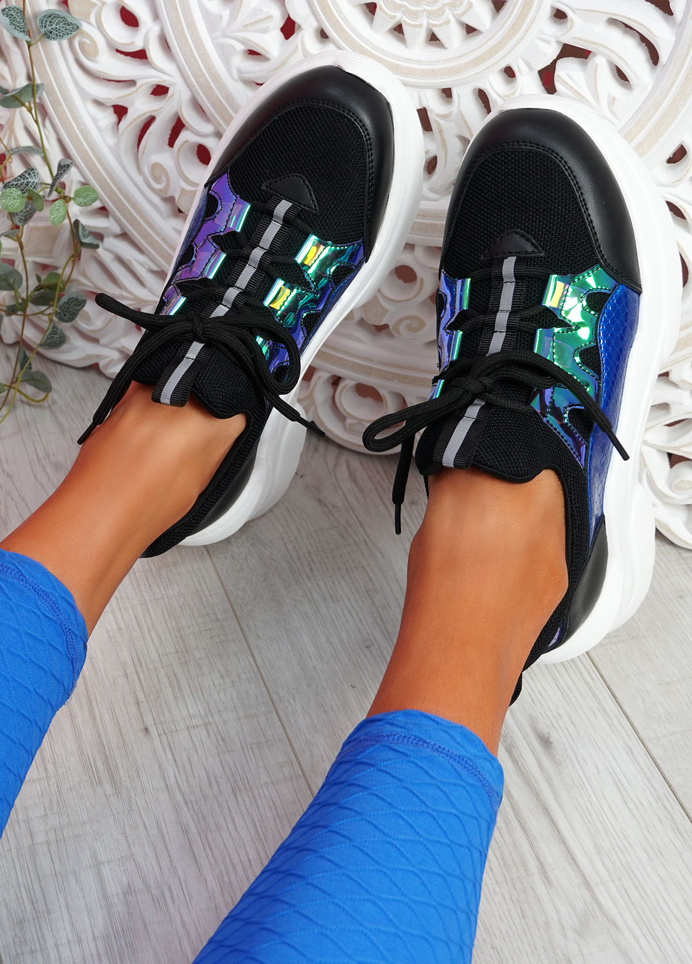 Londe Black Chunky Snake Trainers