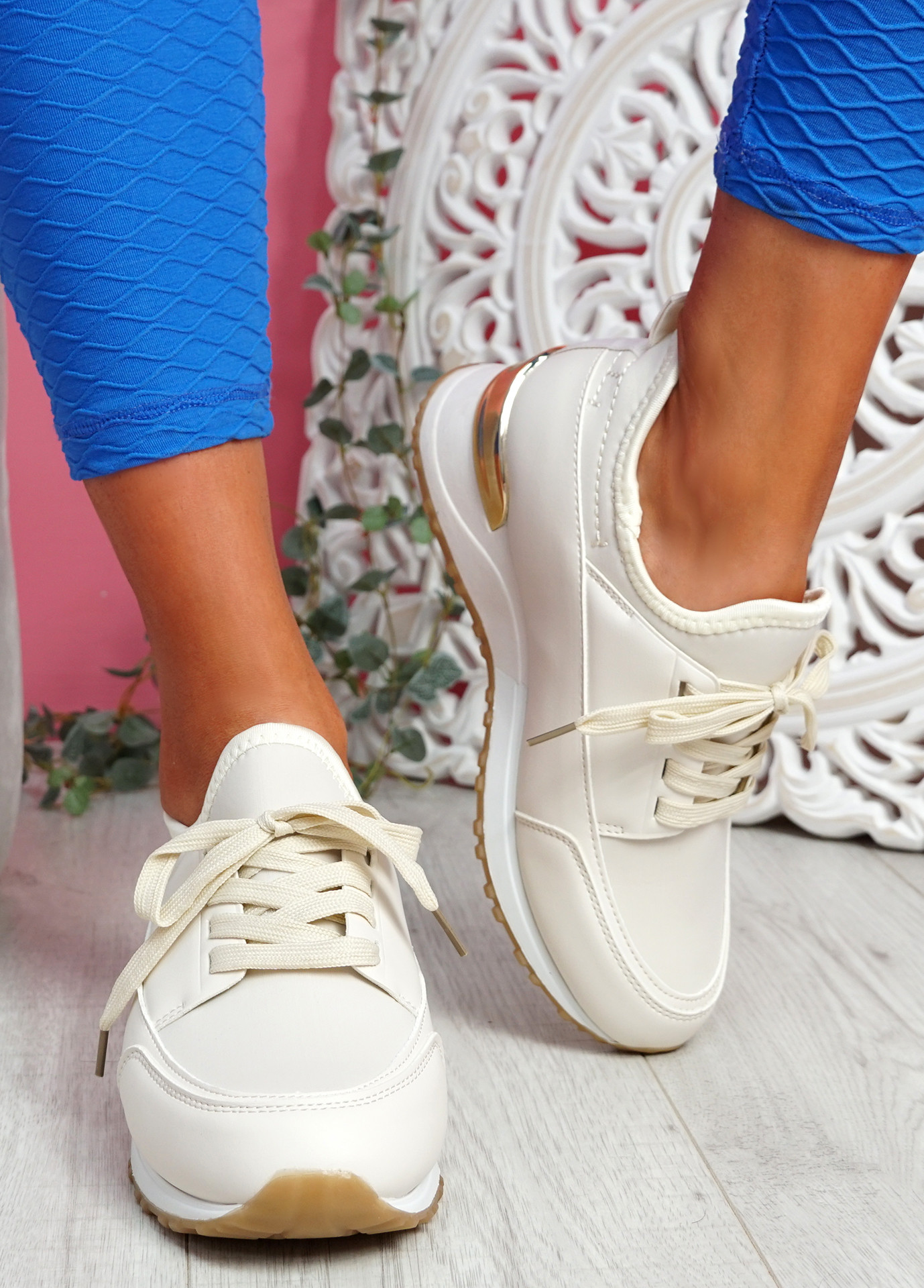 Monty Beige Lace Up Trainers