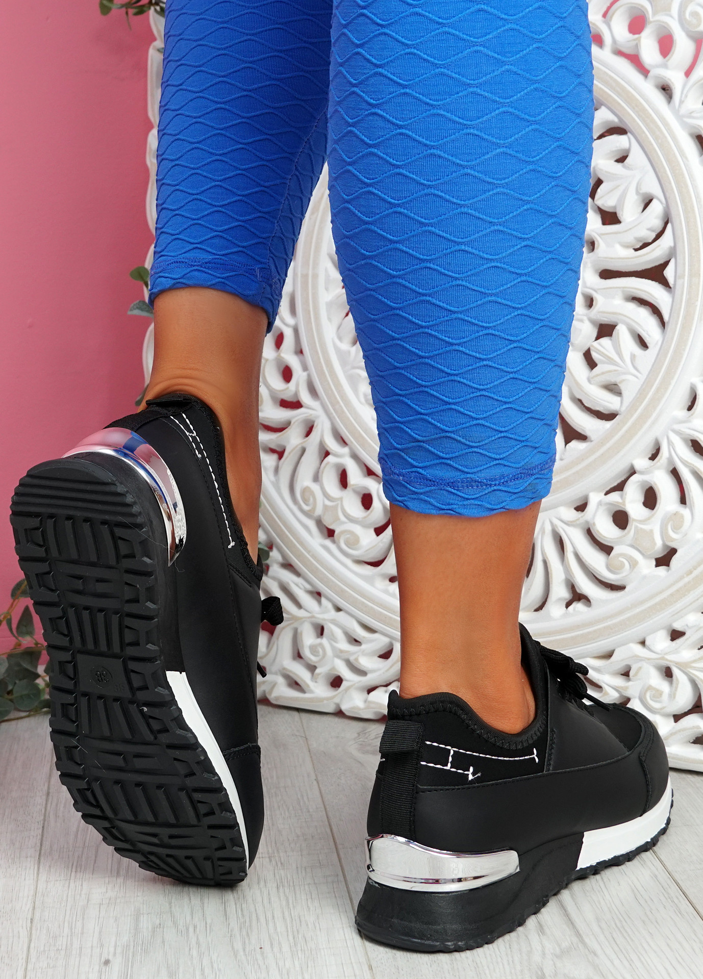 Monty Black Lace Up Trainers