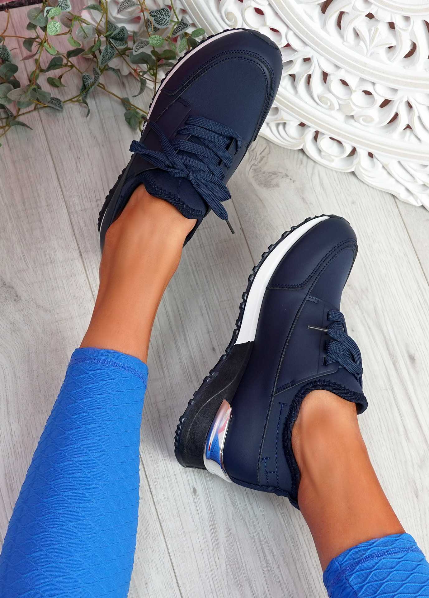 Monty Navy Lace Up Trainers