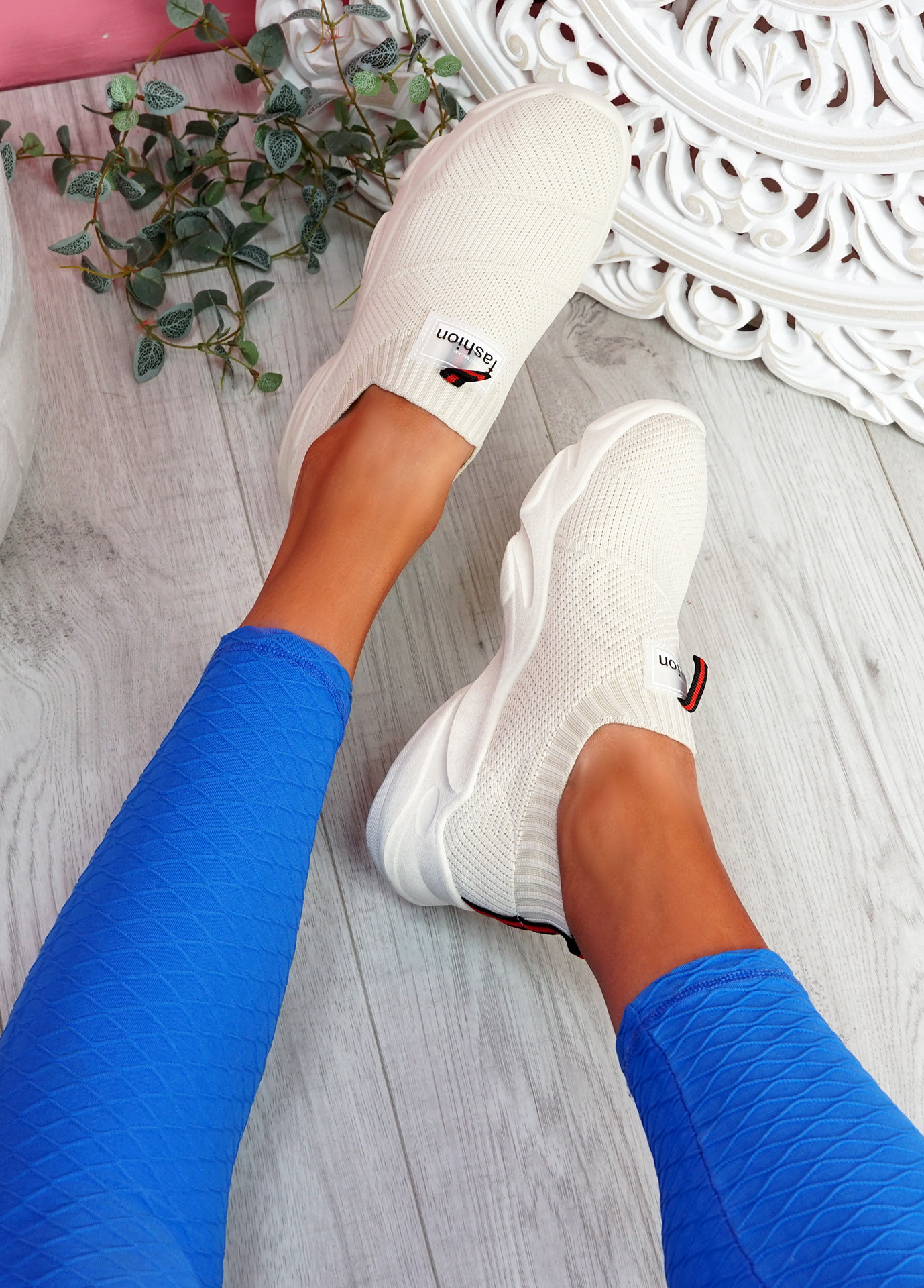 Vidy Beige Knit Trainers