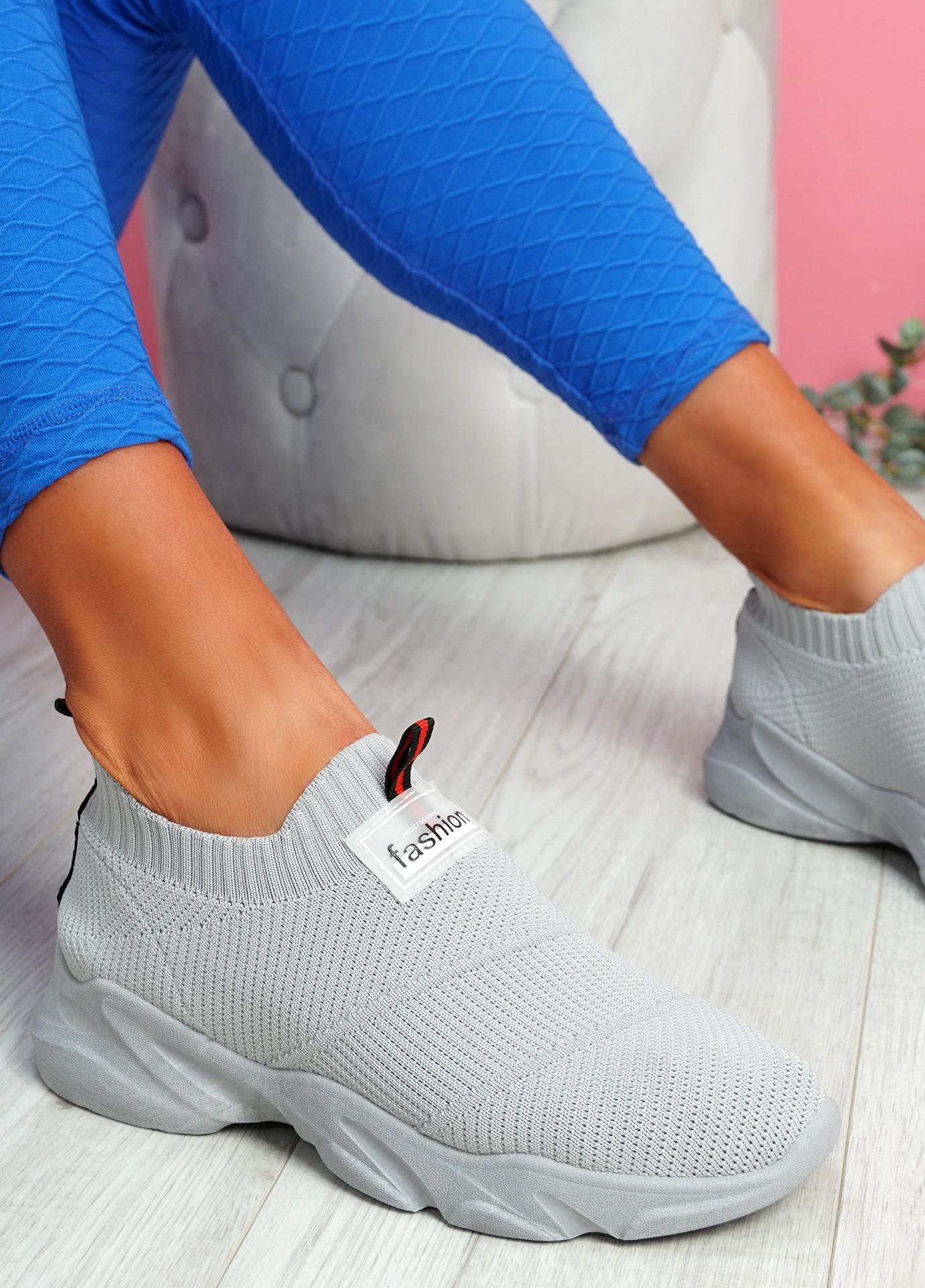 Vidy Grey Knit Trainers