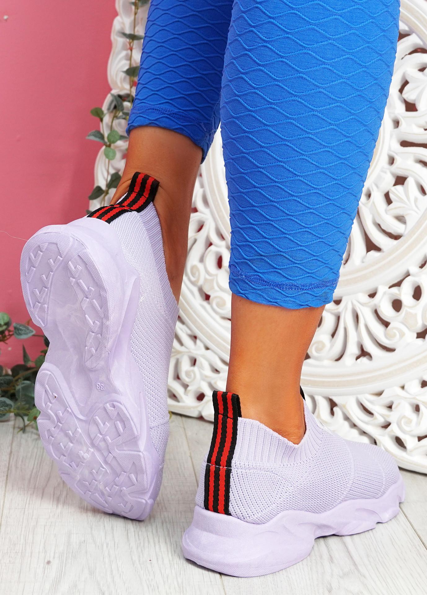 Vidy Purple Knit Trainers