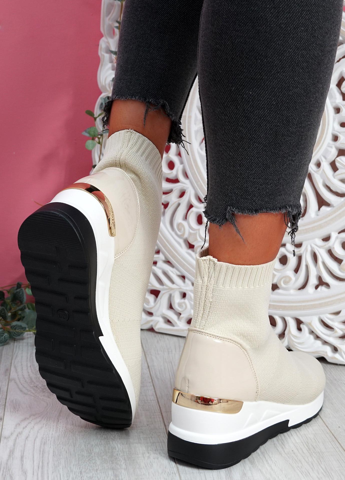 Heny Beige Wedge Sock Sneakers