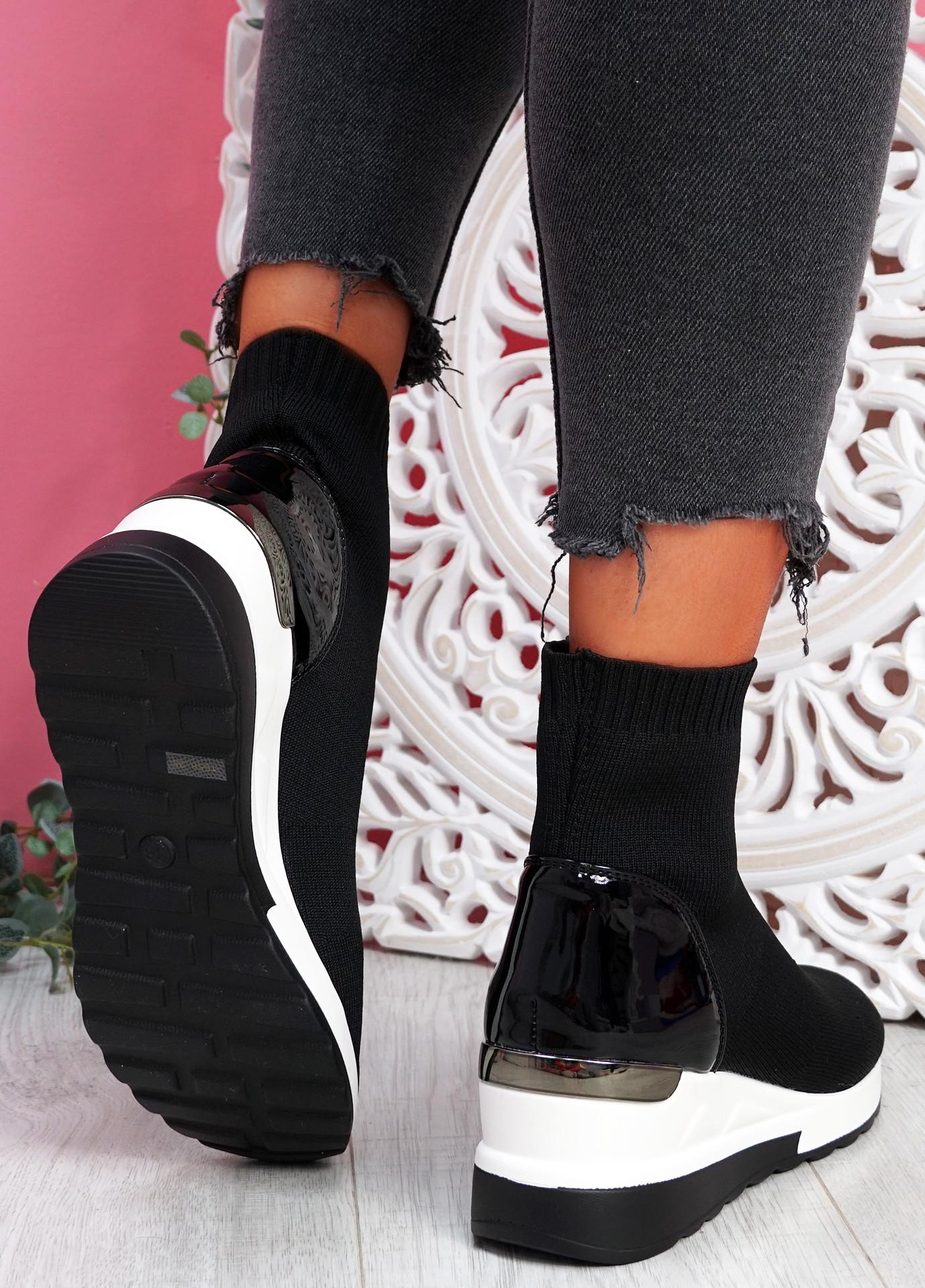 Heny Black Wedge Sock Sneakers