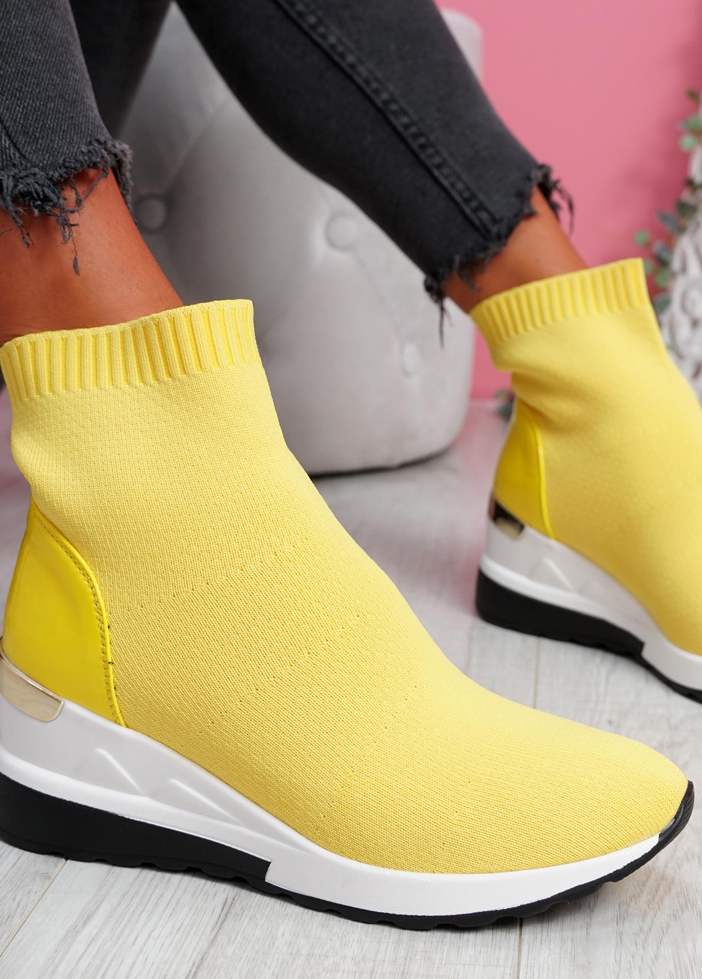 Heny Yellow Wedge Sock Sneakers