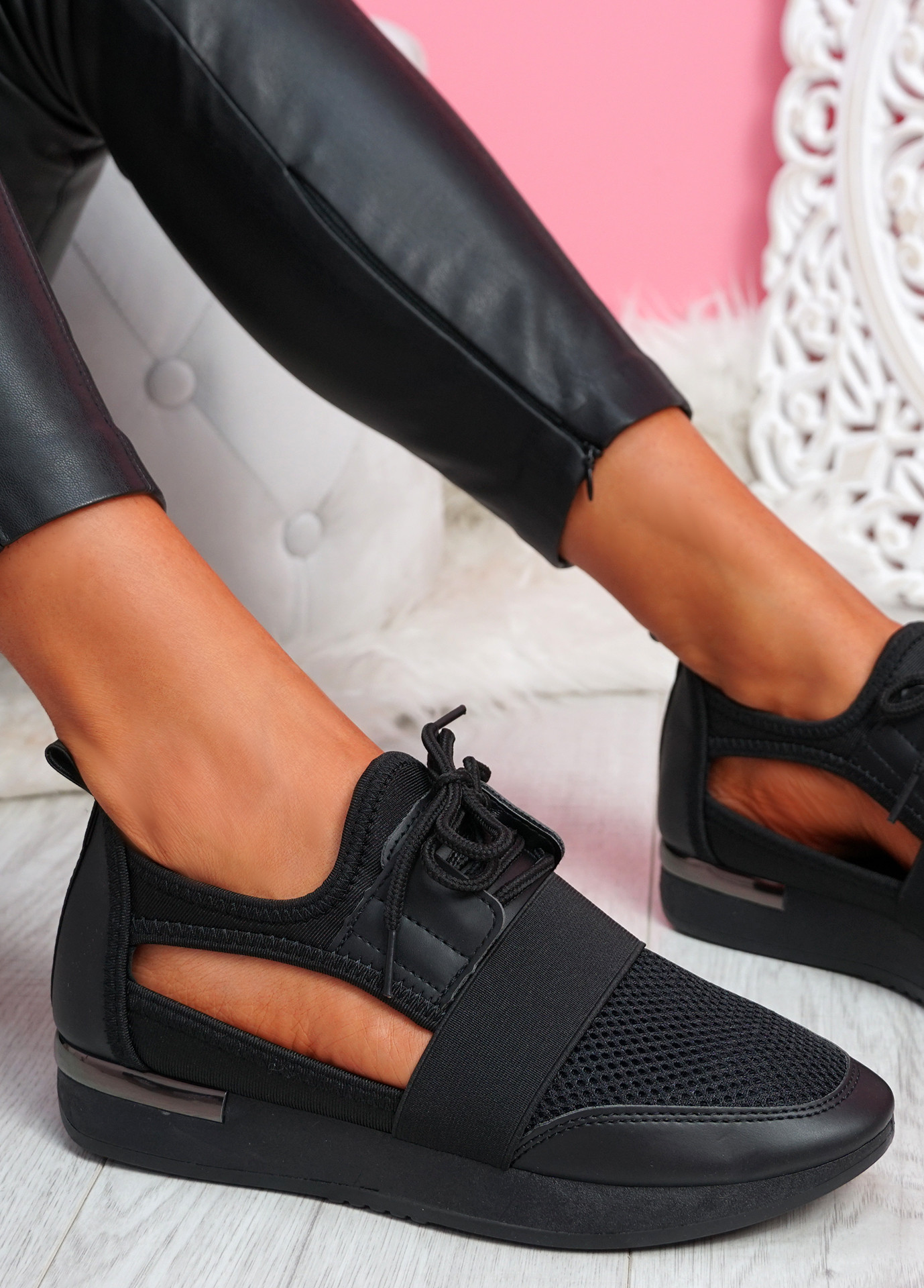 Jimo All Black Cut Out Trainers