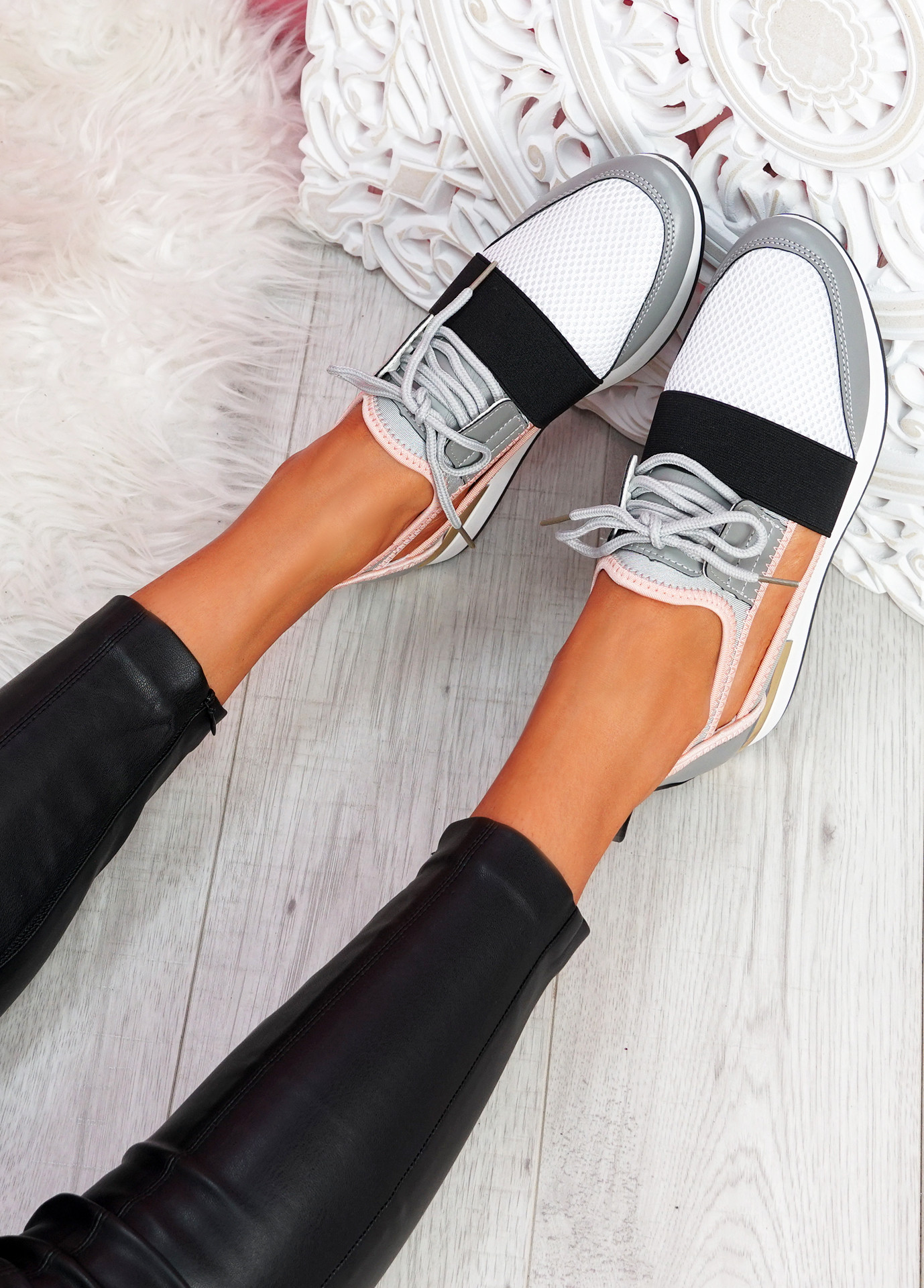 Jimo Grey Cut Out Trainers
