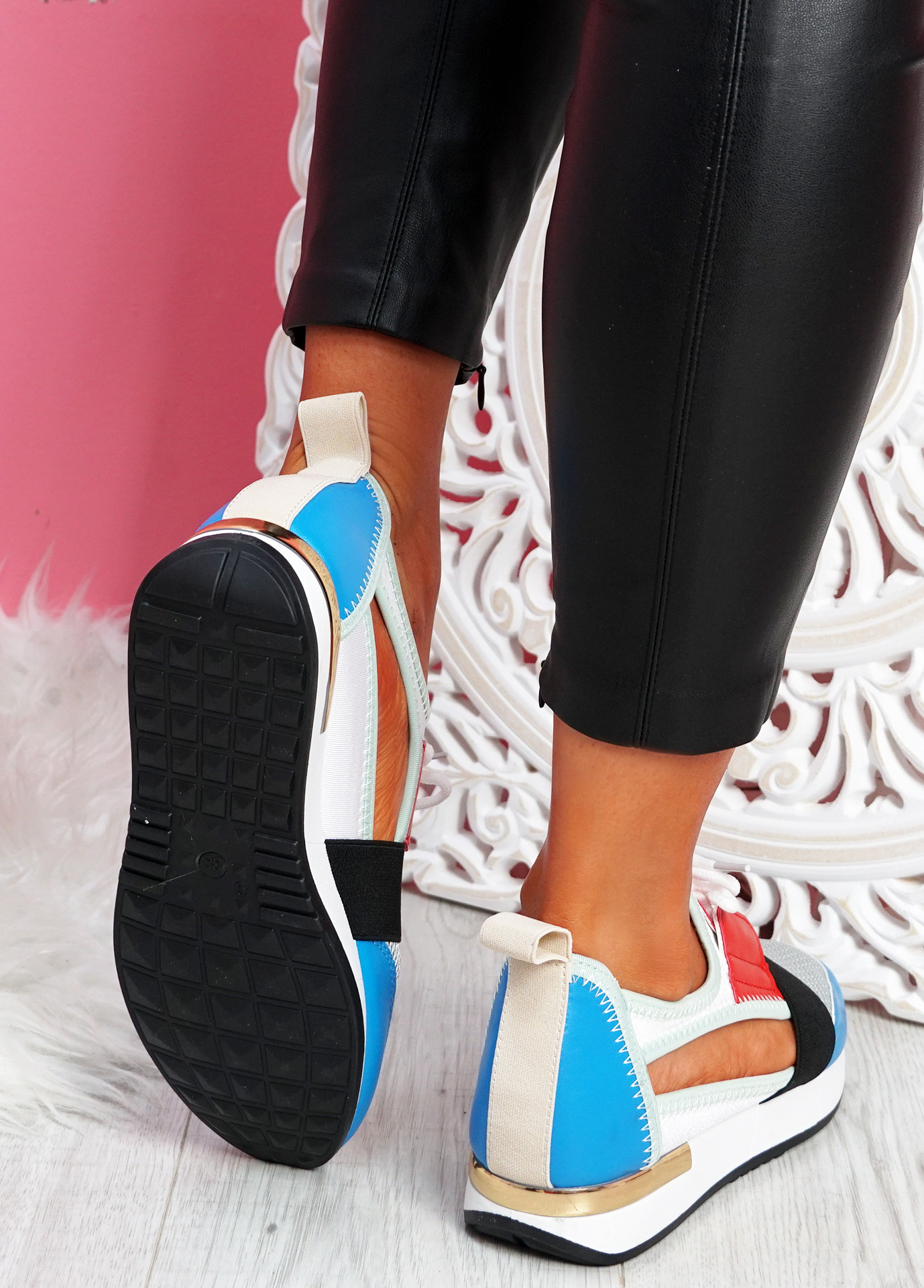Jimo Royal Blue Cut Out Trainers