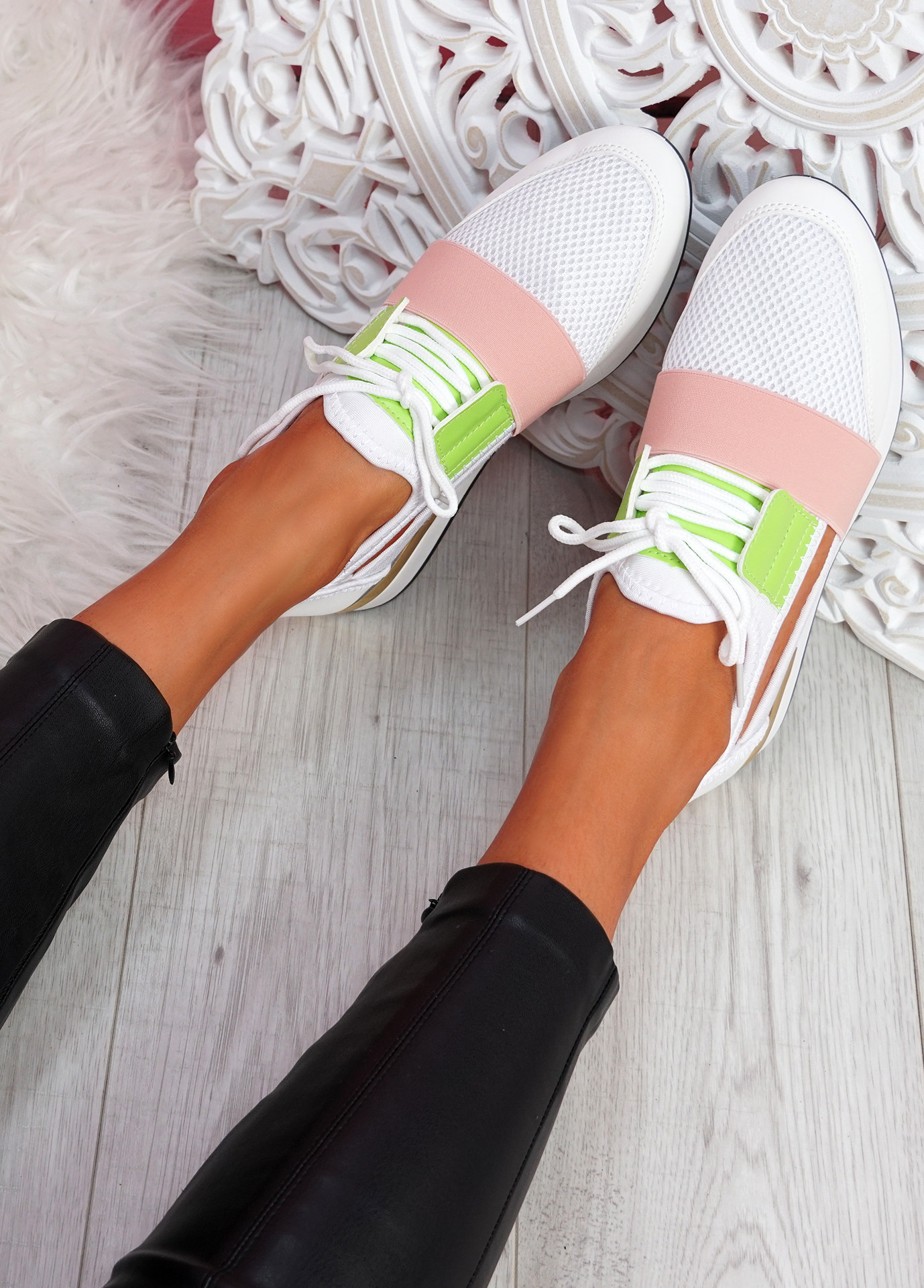 Jimo White Cut Out Trainers