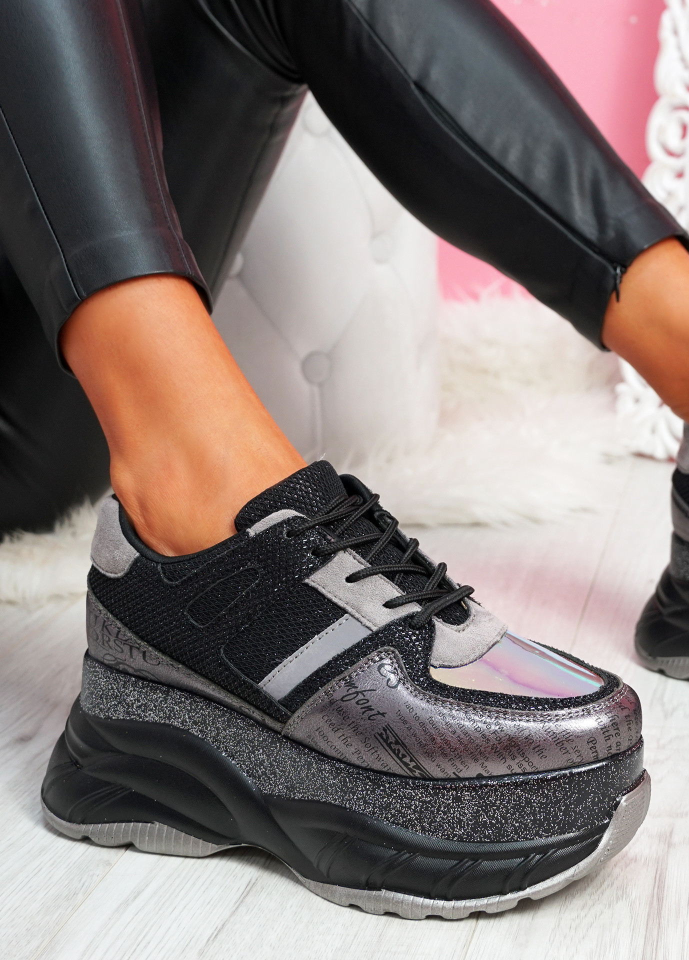 Posty Black Chunky Flatform Trainers