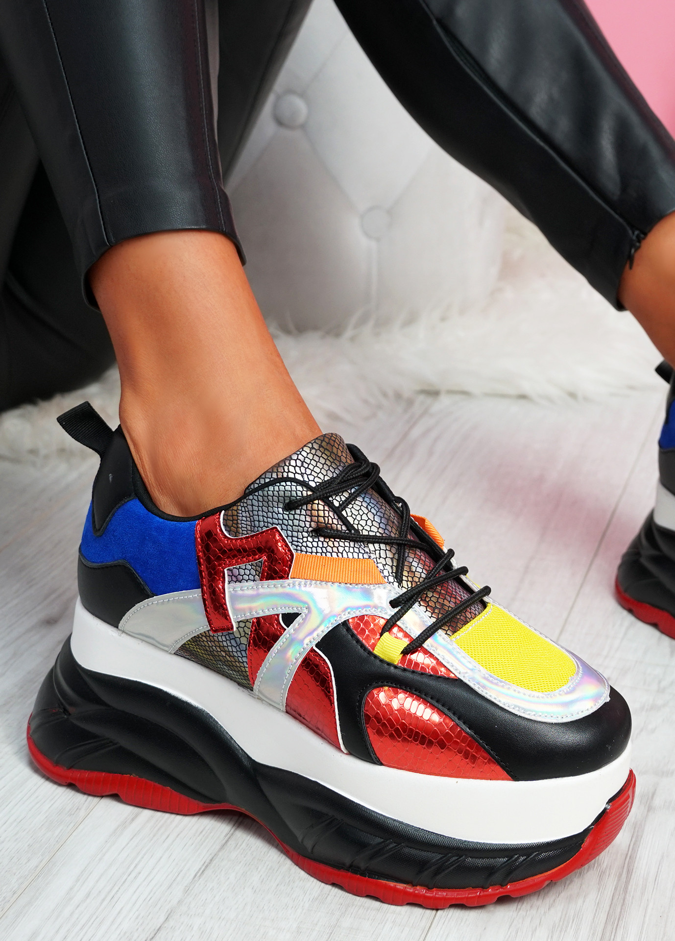 Posty Black Multicolor Chunky Flatform Trainers