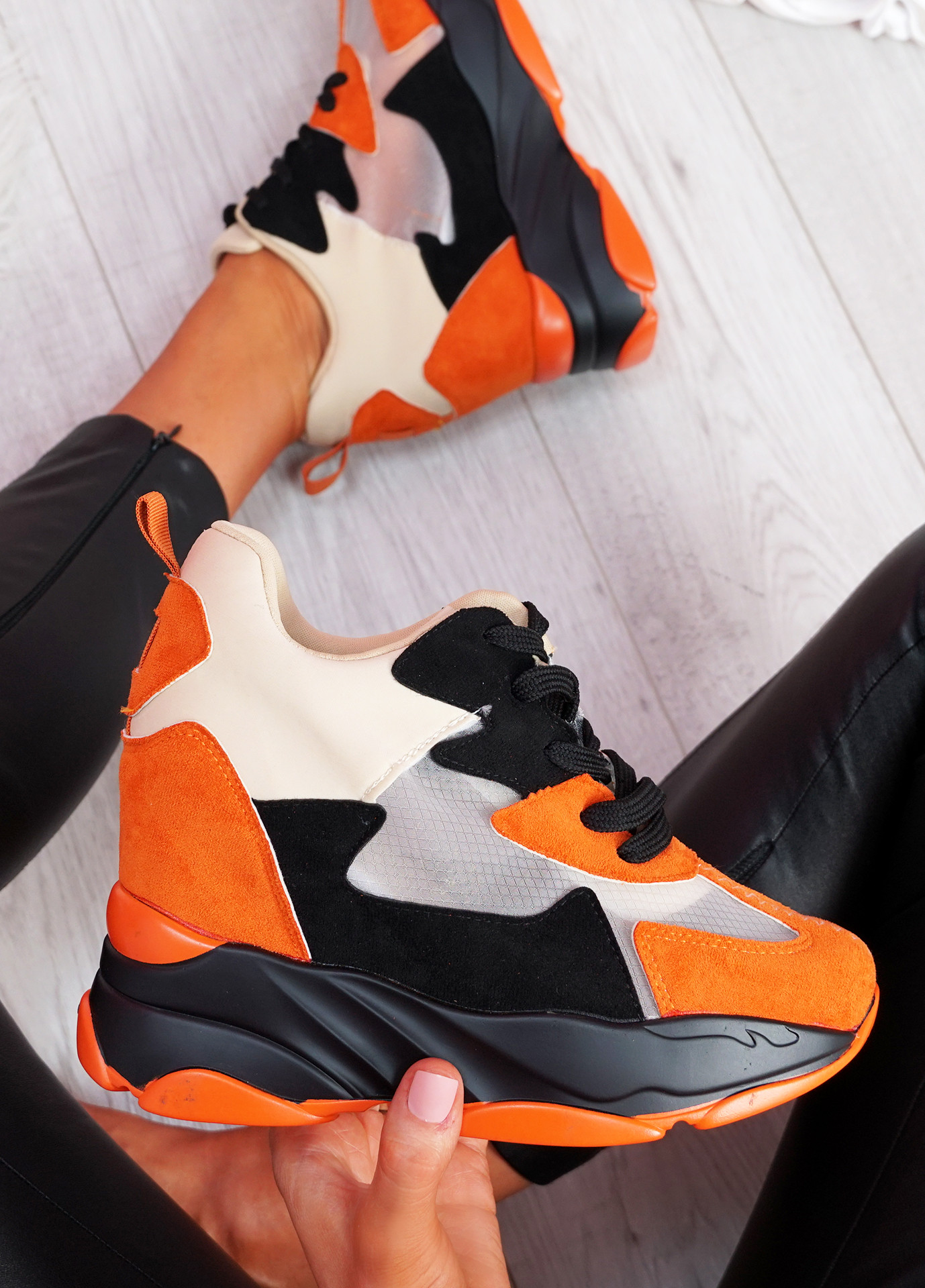 Leny Orange Wedge Trainers