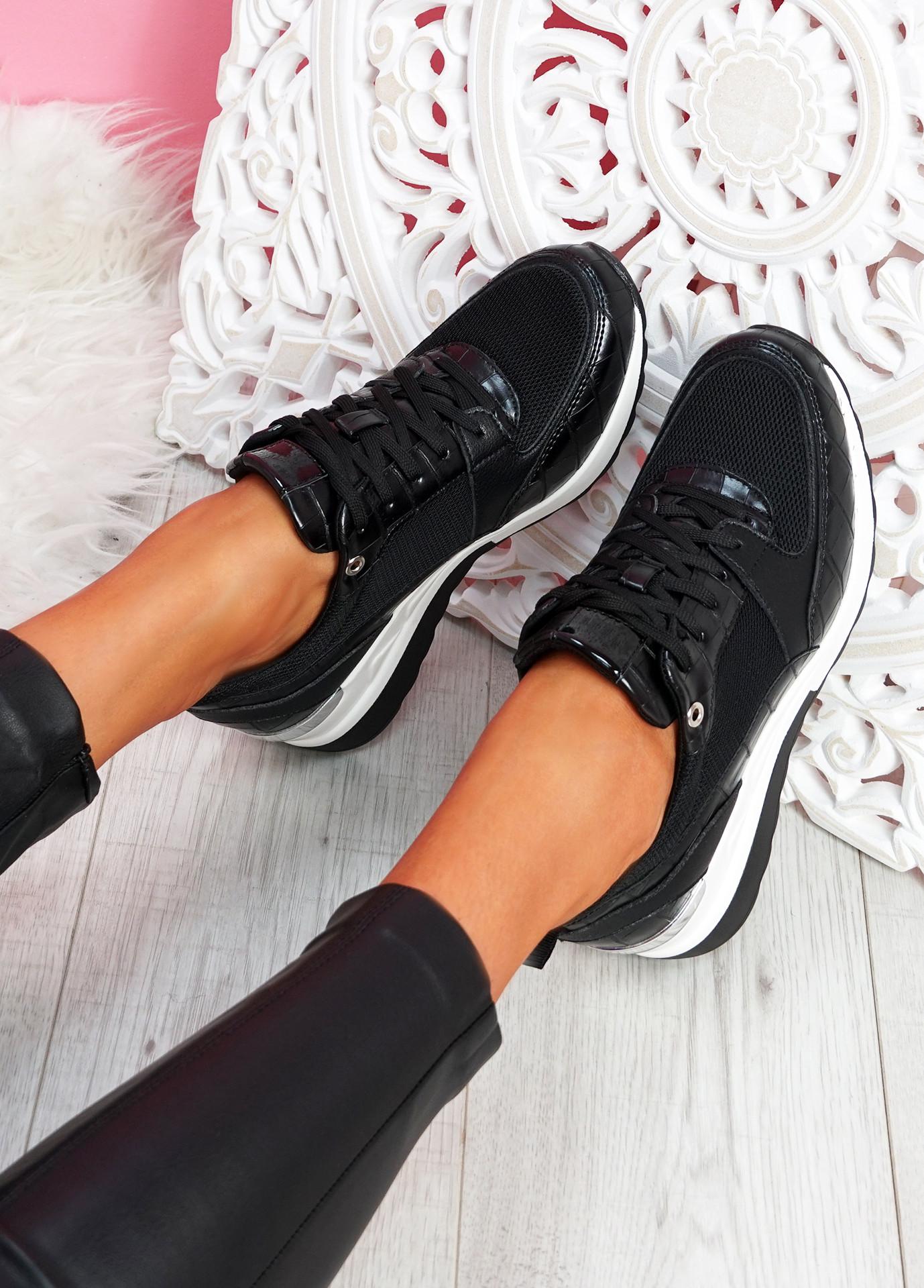 Mifa Black Croc Pattern Sneakers