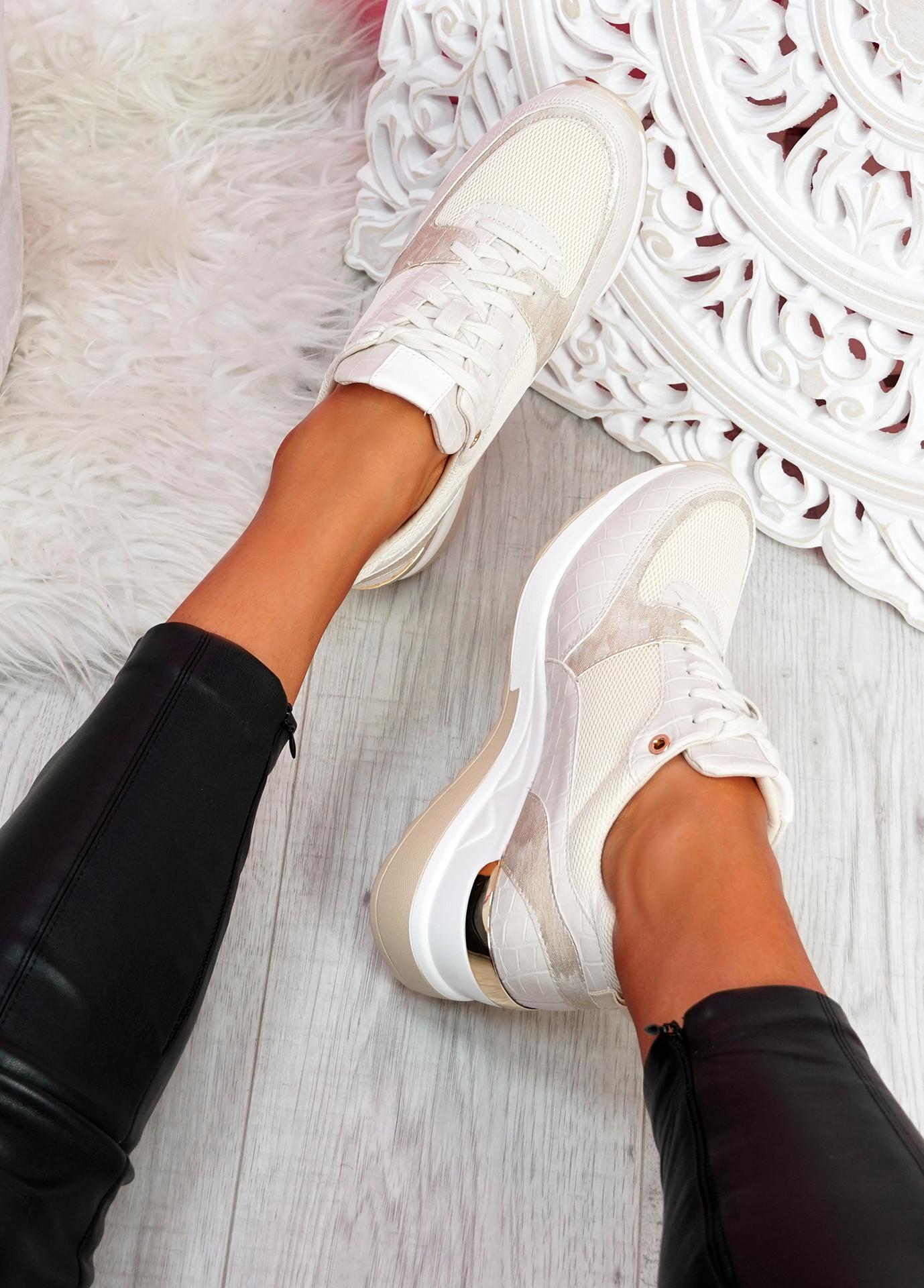 Mifa Beige Croc Pattern Sneakers
