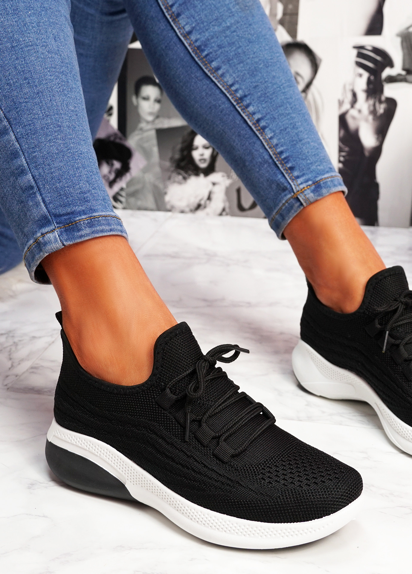 Finy Black Knit Sport Trainers