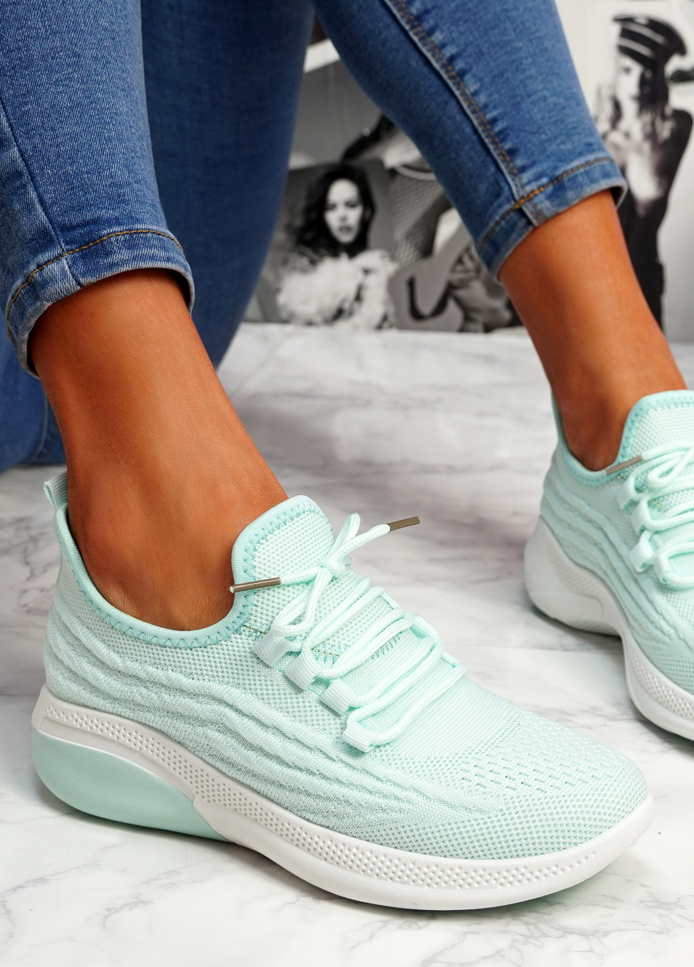 Finy Green Knit Sport Trainers
