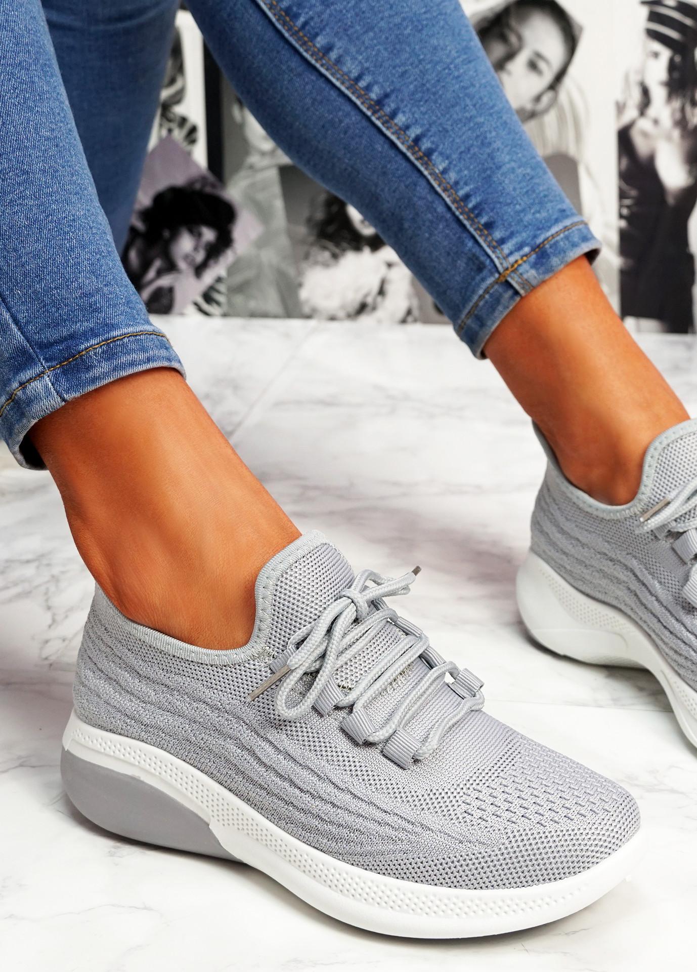 Finy Grey Knit Sport Trainers