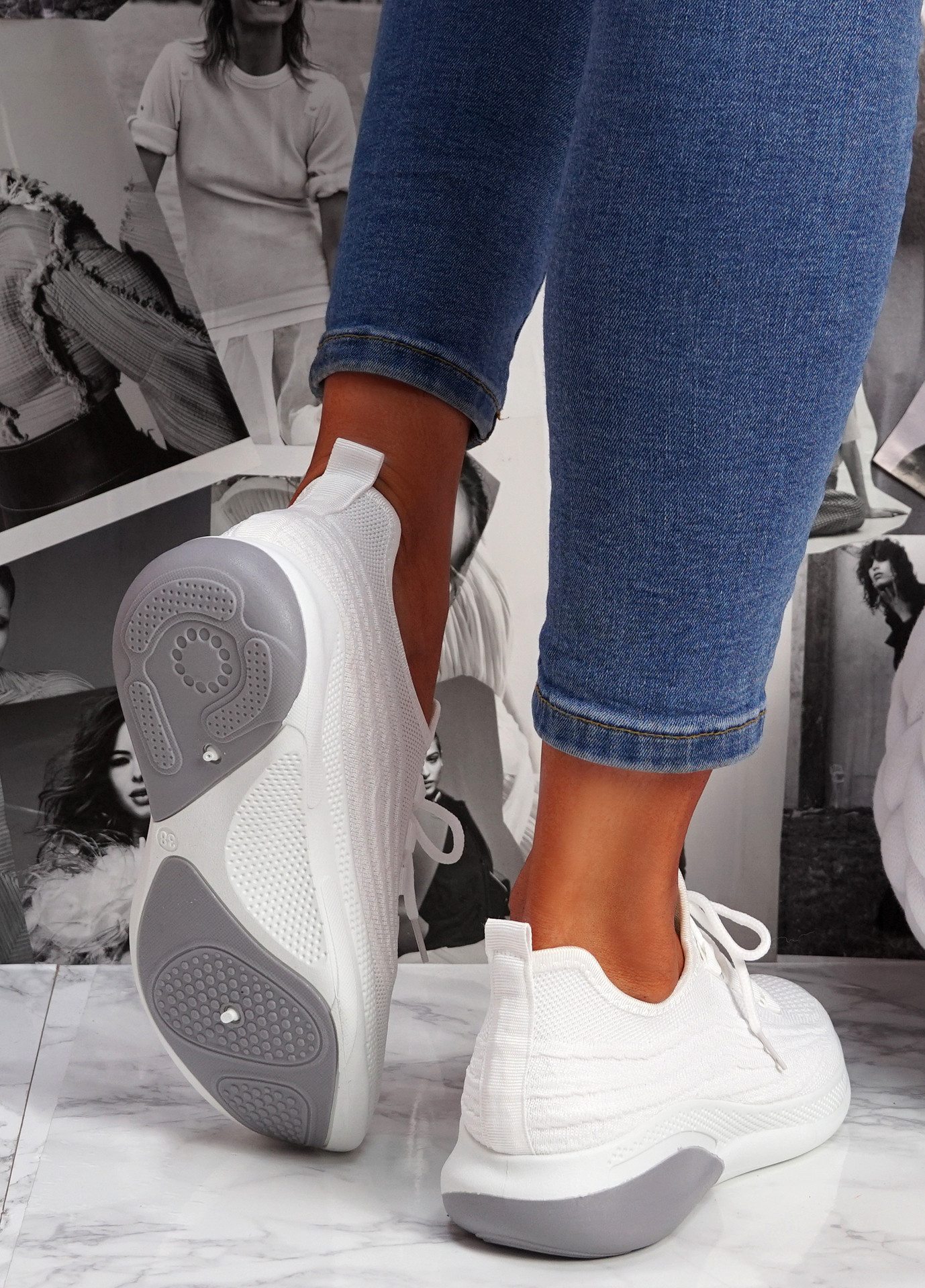 Finy White Knit Sport Trainers
