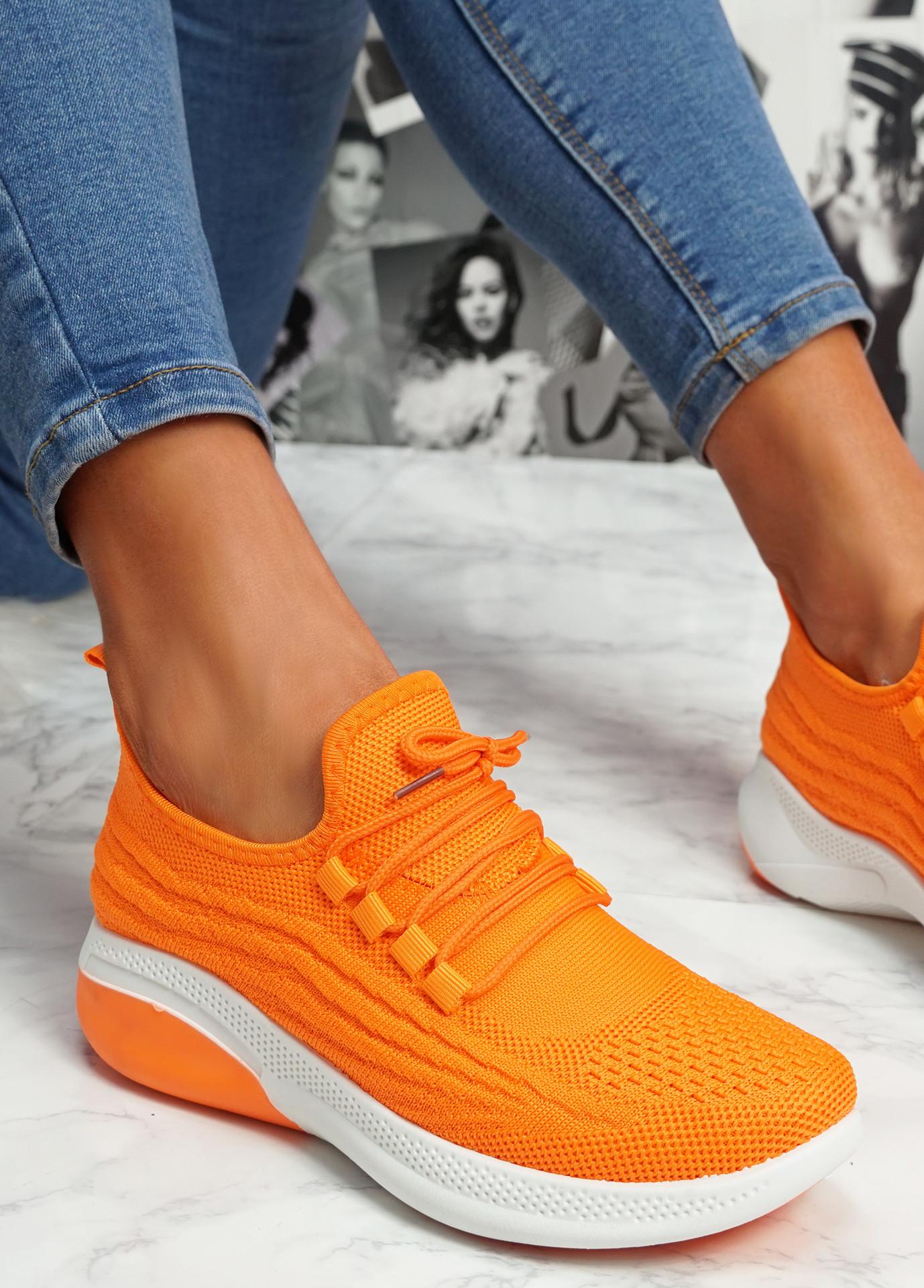 Finy Orange Knit Sport Trainers