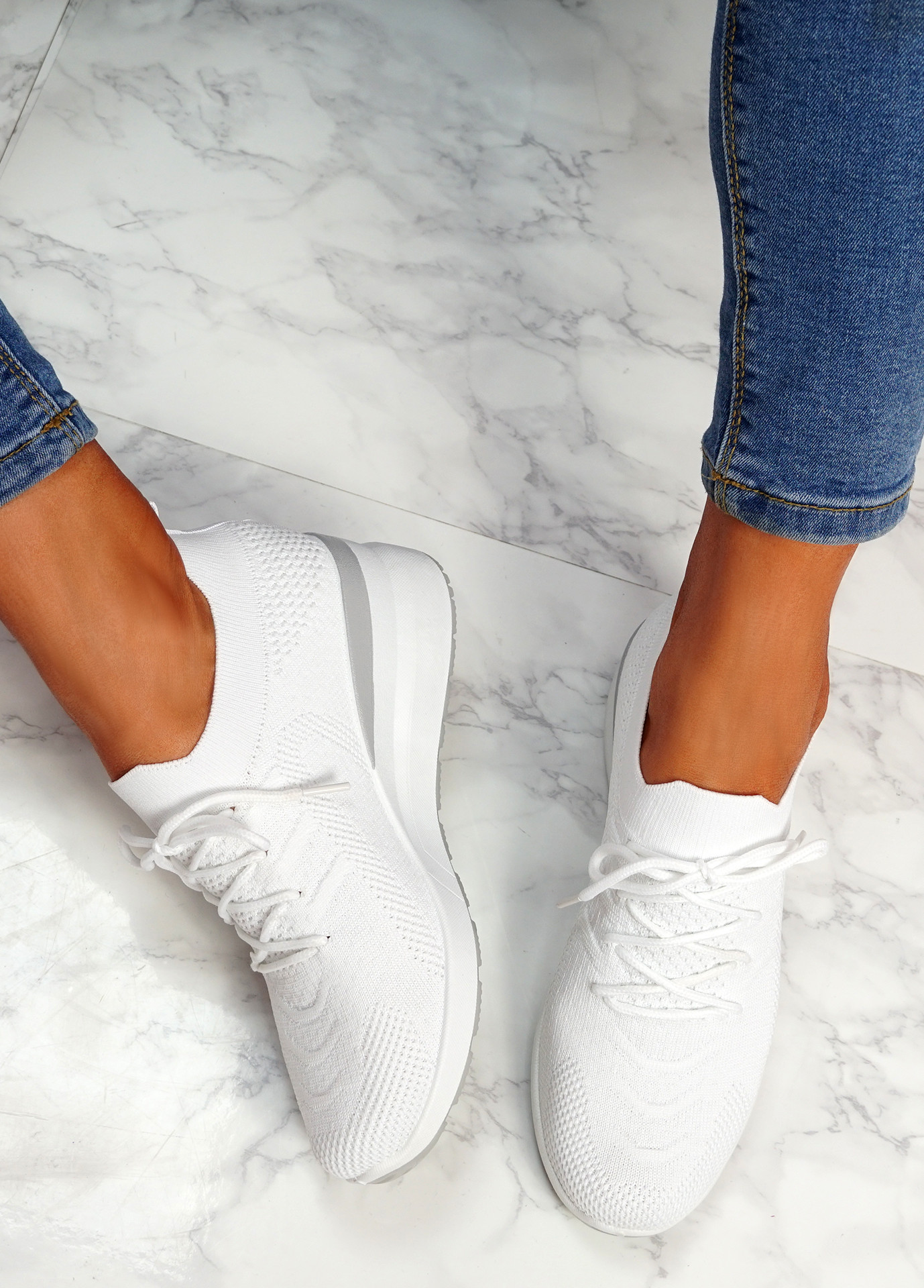 Jumma White Knit Low Heel Sneakers